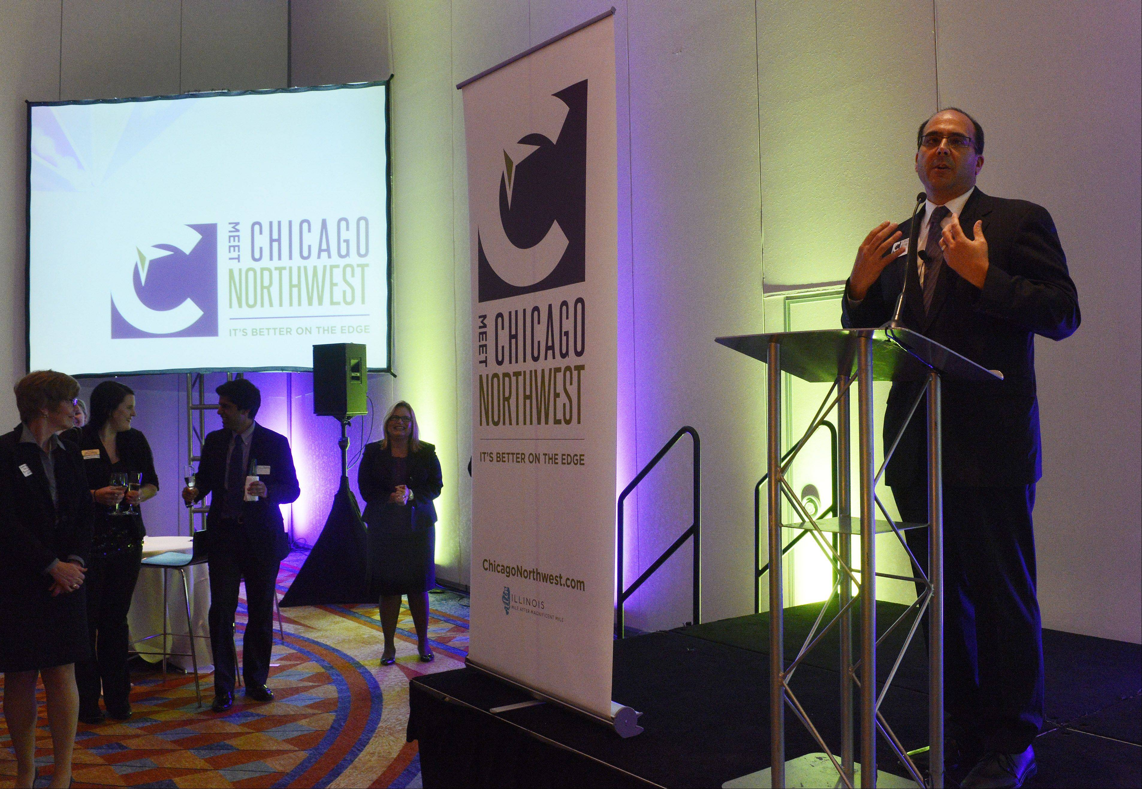 Dave Parulo, president of Meet Chicago Northwest, speaks Wednesday during the unveiling of the organization's new name and logo at a reception at the Renaissance Schaumburg Convention Center Hotel.