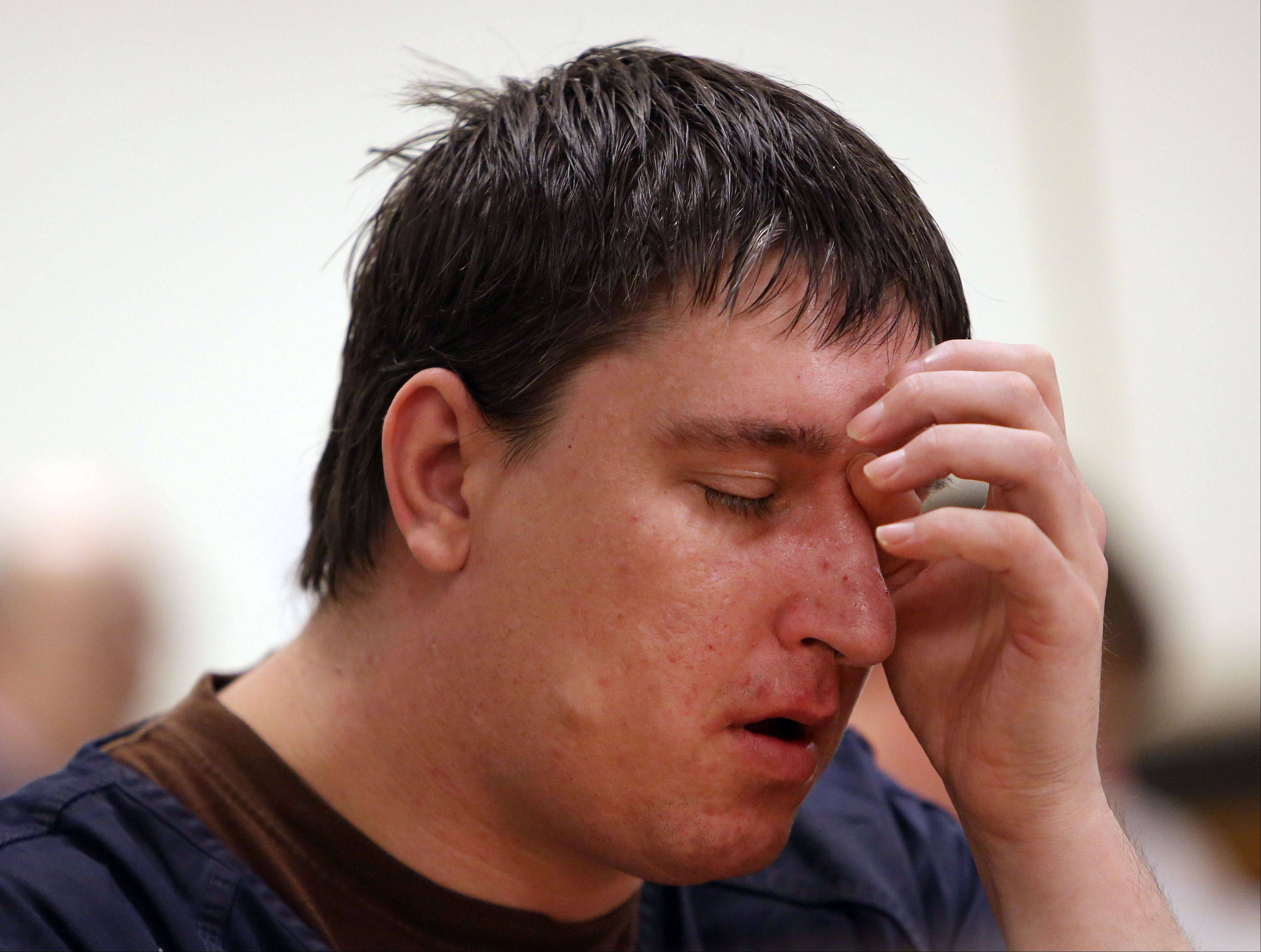 Brian Stedronsky, 33, of Ingleside, weeps as victim impact statements are read Wednesday during his sentencing hearing before Lake County Judge Mark Levitt in Waukegan. Stedronsky received a six-year sentence after pleading guilty to selling a fatal dose of a potent pain medication to a friend in 2012.