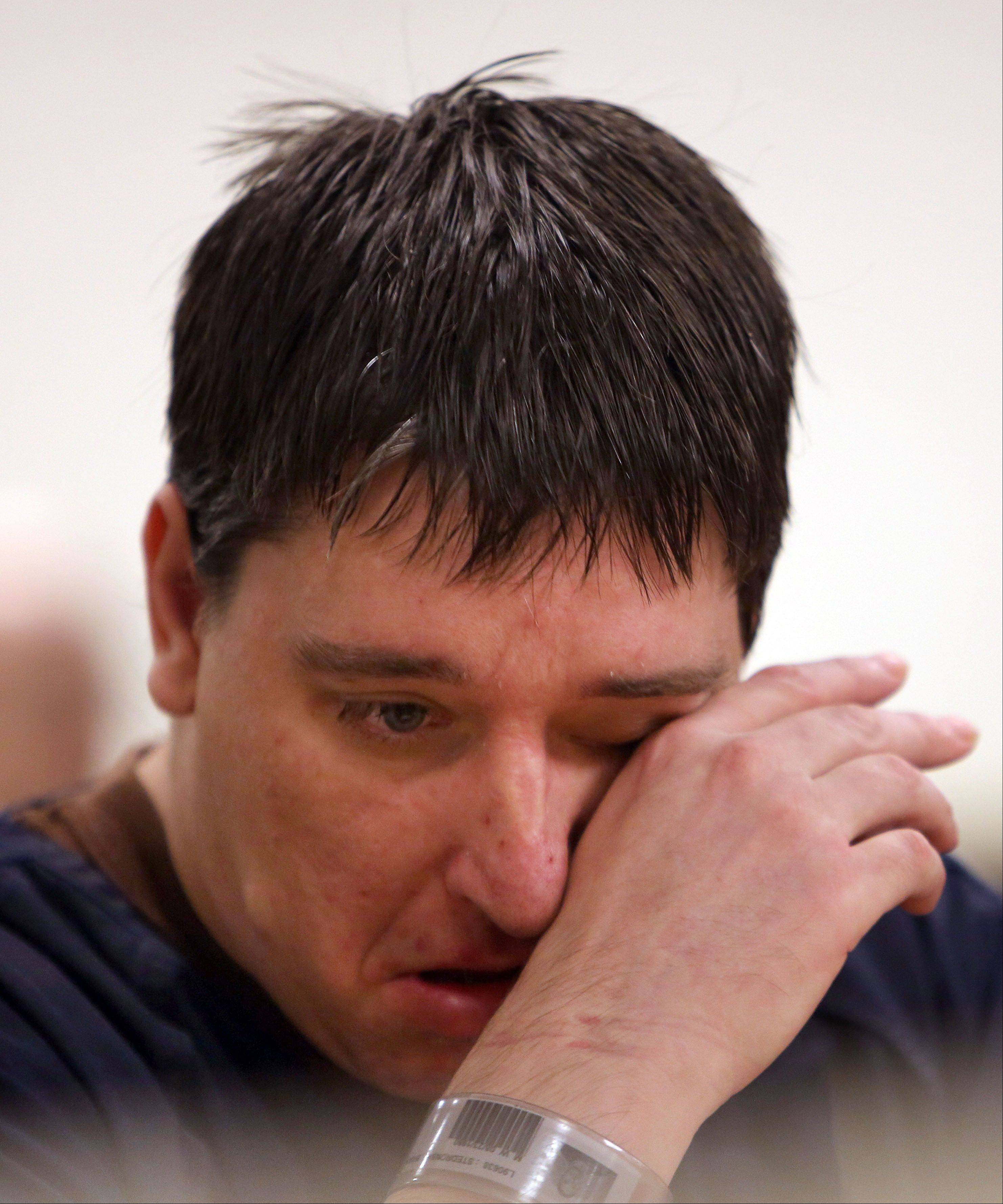 Brian Stedronsky, 33, of Ingleside, cries as victim impact statements are read Wednesday during his sentencing hearing in Waukegan. Stedronsky received a six-year prison sentence after pleading guilty to selling a fatal dose of a potent pain medication to his friend, Jeffrey Ferris, in 2012.