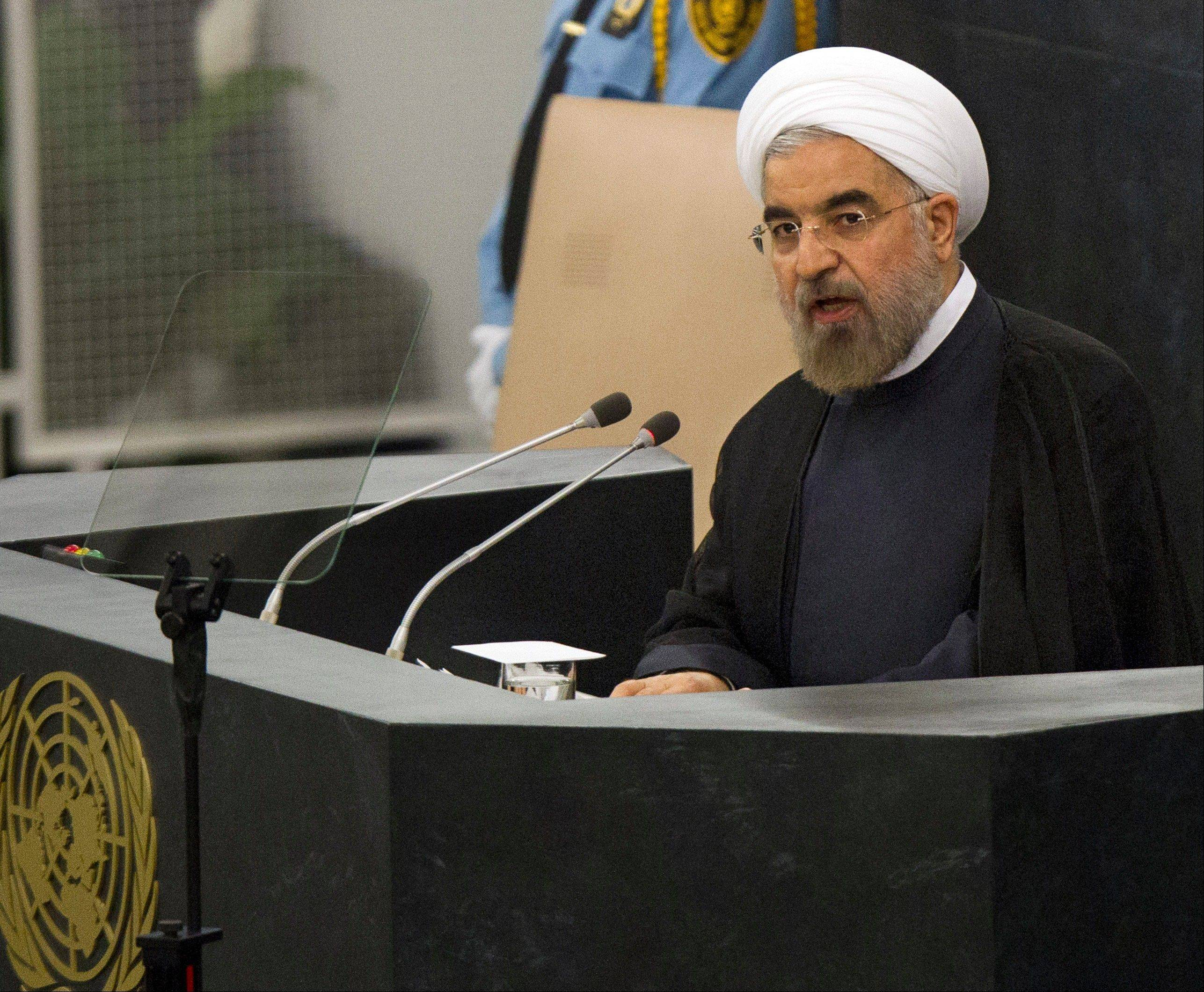 Hasan Rouhani, President of the Islamic Republic of Iran, addresses the 68th United Nations General Assembly at UN headquarters, Tuesday, Sept. 24, 2013.