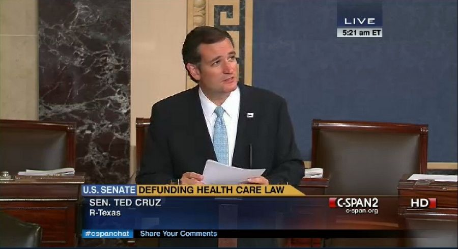 In an image made from the C-SPAN broadcast Senator Ted Cruz continues to speak on the floor of the U.S. Senate at 5:21 a.m. EDT Wednesday Sept. 25, 2013. Since Tuesday afternoon, Cruz -- with occasional remarks by Sen. Mike Lee, R-Utah, and other GOP conservatives -- has controlled the Senate floor and railed against Obamacare. By 5 a.m. EDT Wednesday, Cruz and his allies had spoken for more than 14 hours, the eighth longest since precise record-keeping began in 1900.