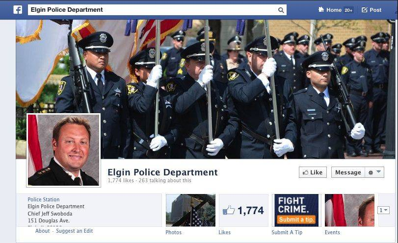 The Elgin Police Department is reaching out to residents through social media, including through its own Facebook page.