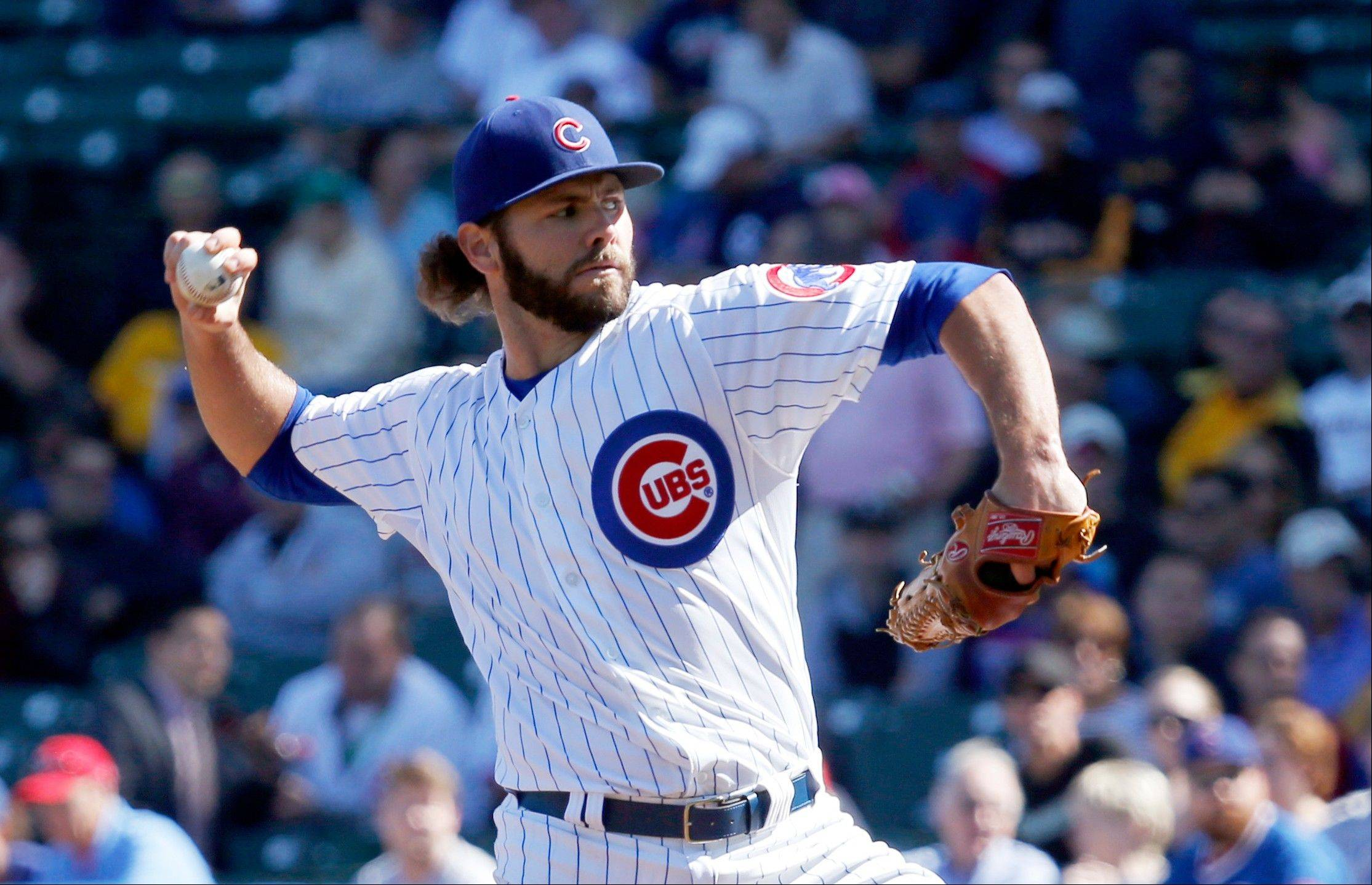 Cubs starting pitcher Jake Arrieta delivers during the first inning of a baseball game against the Pittsburgh Pirates Wednesday in Chicago.