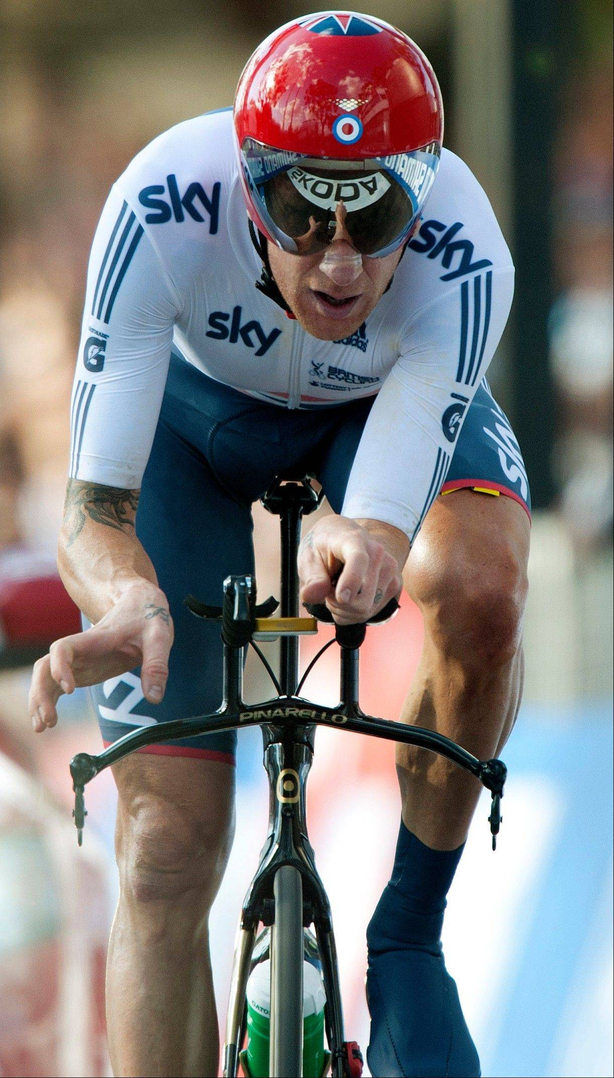 British cyclist Bradley Wiggins crosses the finish line to win the silver medal in the men's individual time trial event Wednesday at the road cycling world championships in Florence, Italy.