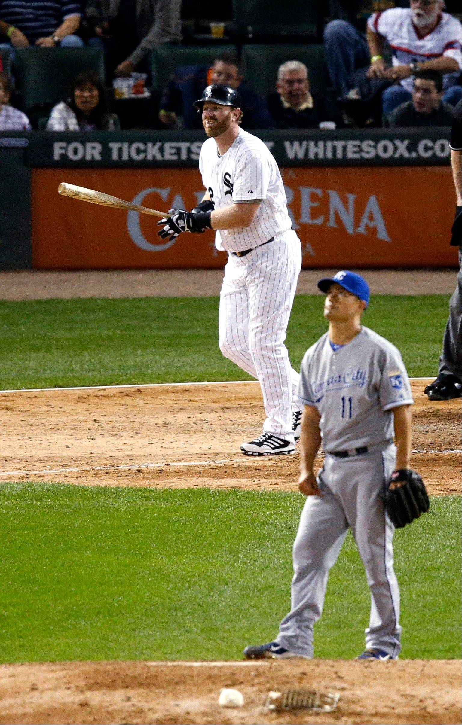 The White Sox�s Adam Dunn watches his home run with Kansas City Royals starting pitcher Jeremy Guthrie during Thursday night�s game at U.S. Cellular Field. The Sox lost 3-2.