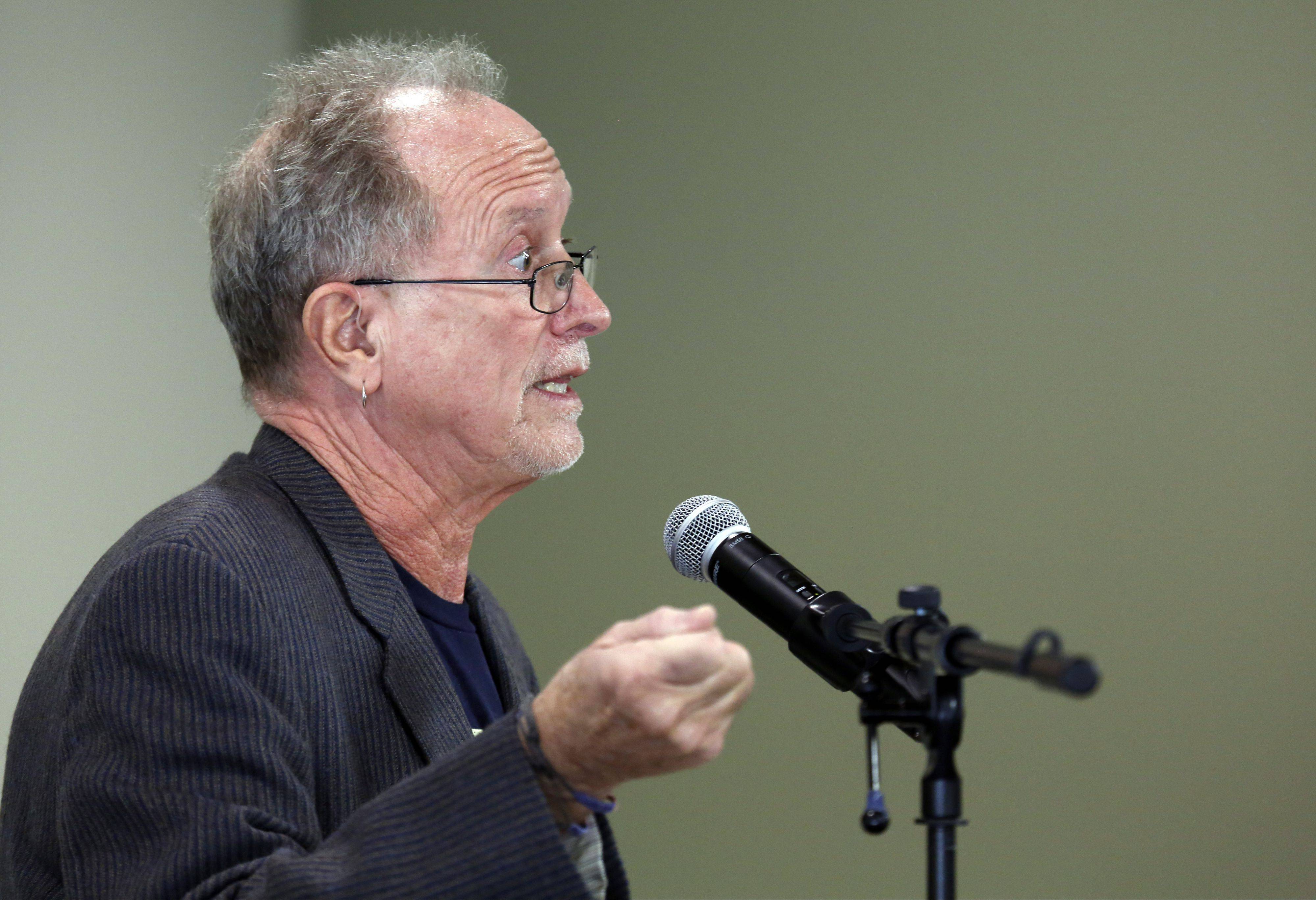 William Ayers, controversial former professor and one-time leader in the '60s and '70s protest movement, appeared at Elgin Community College Thursday.