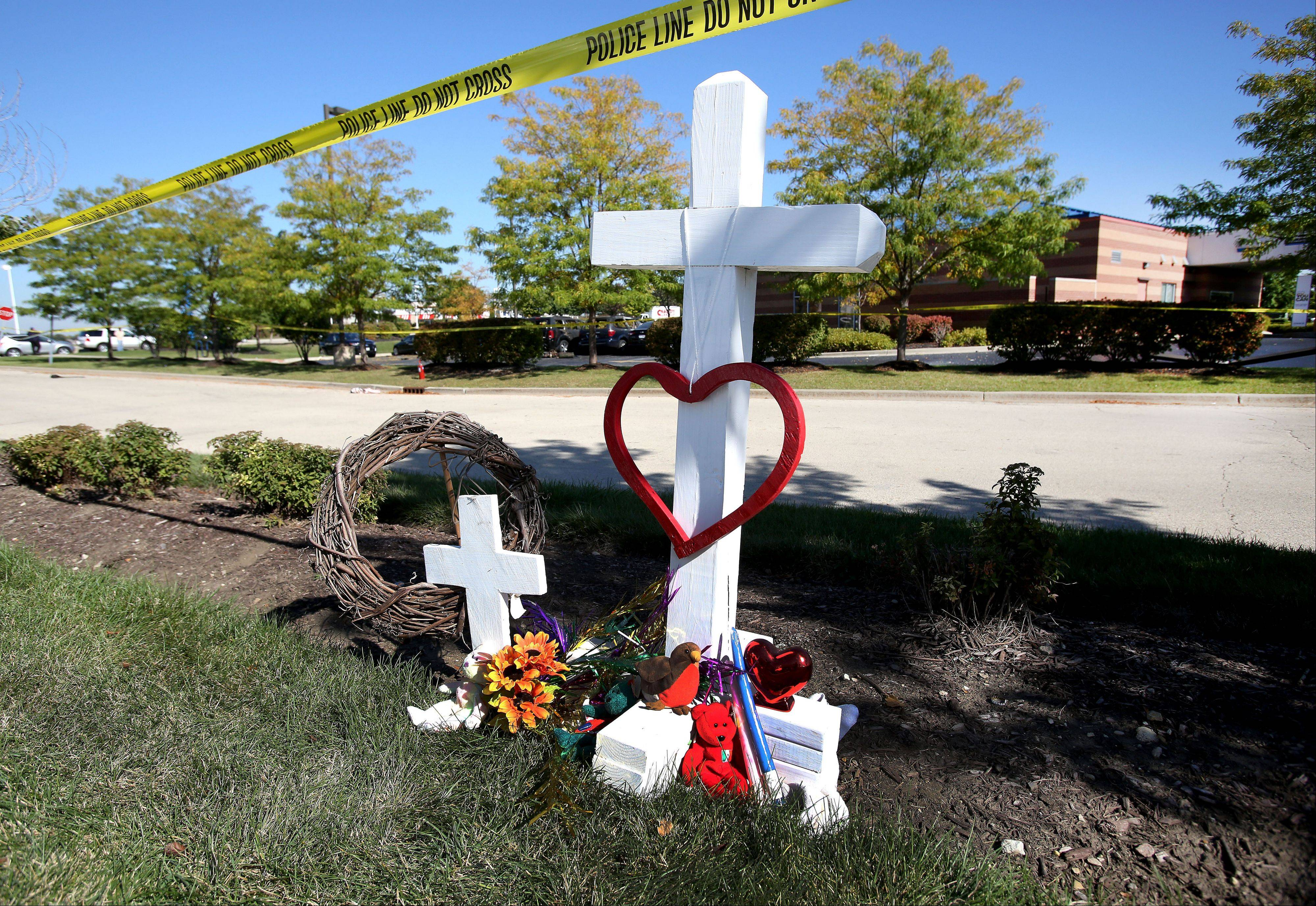 A makeshift memorial marks the spot where a surgeon and his wife from Kentucky were killed when their plane crashed near Clow International Airport in Bolingbrook.