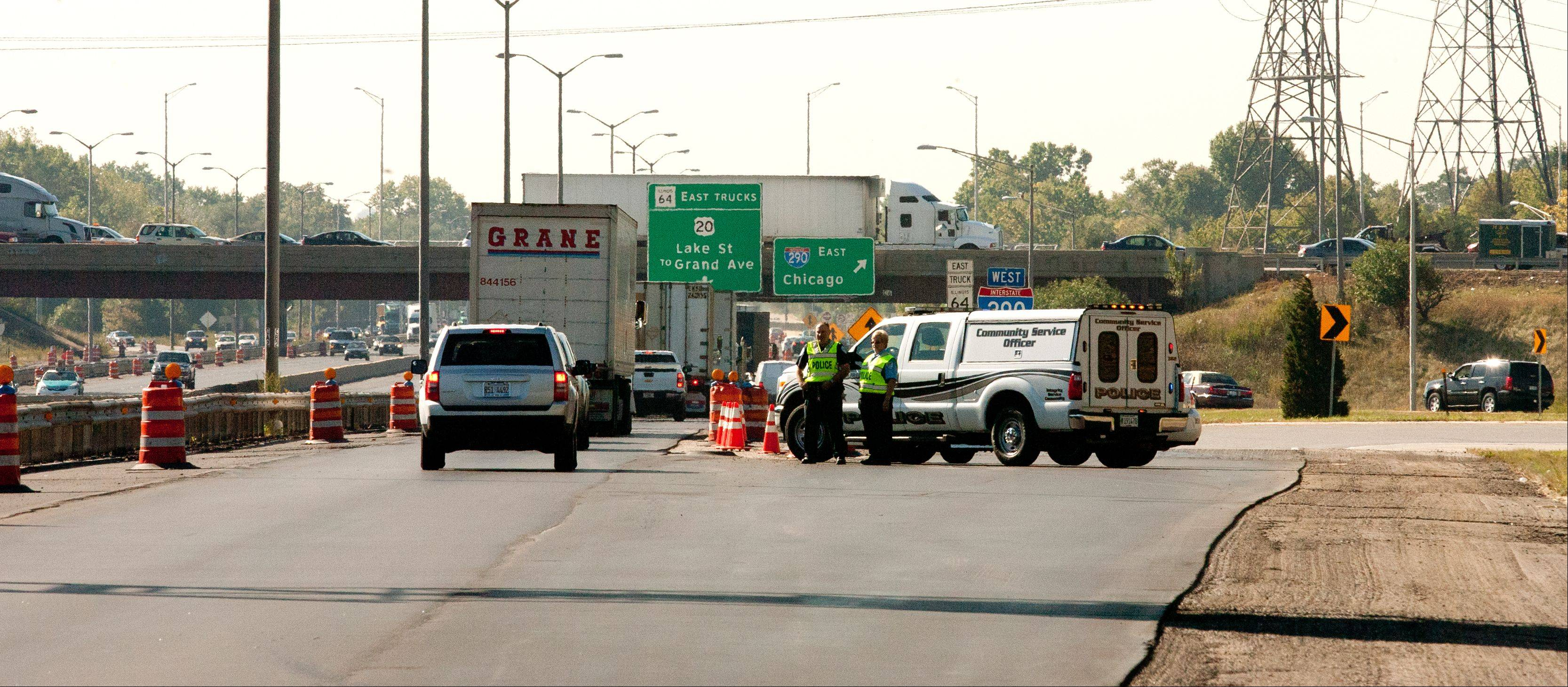 Traffic is diverted near the scene of a quadruple fatality Thursday along I-290 near Route 83 in Addison.