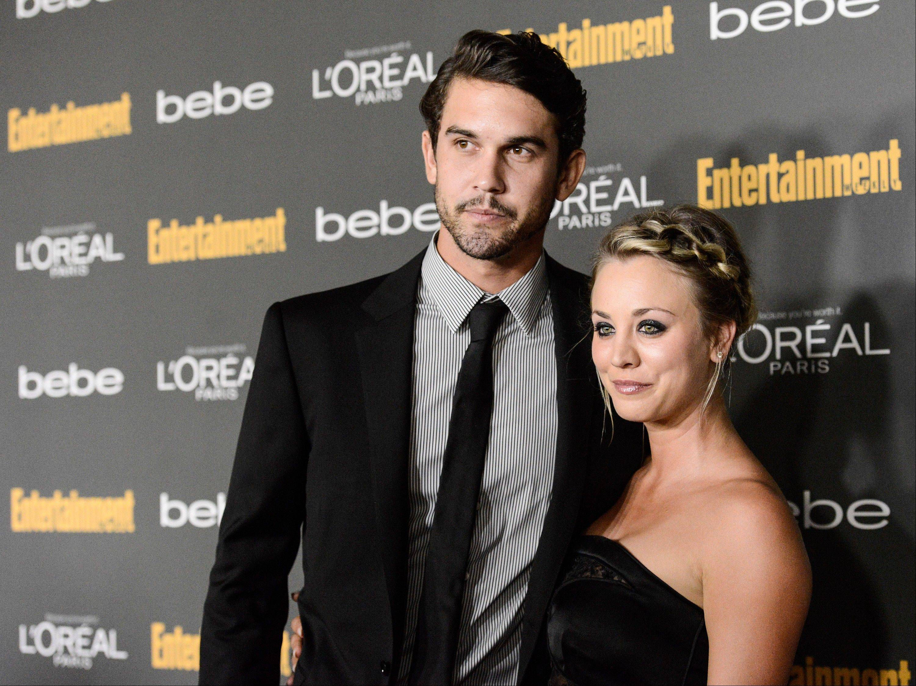 Actress Kaley Cuoco, right, and tennis pro Ryan Sweeting have become engaged after a quick courtship. The 27-year-old actress and 26-year-old Sweeting began dating about three months ago.