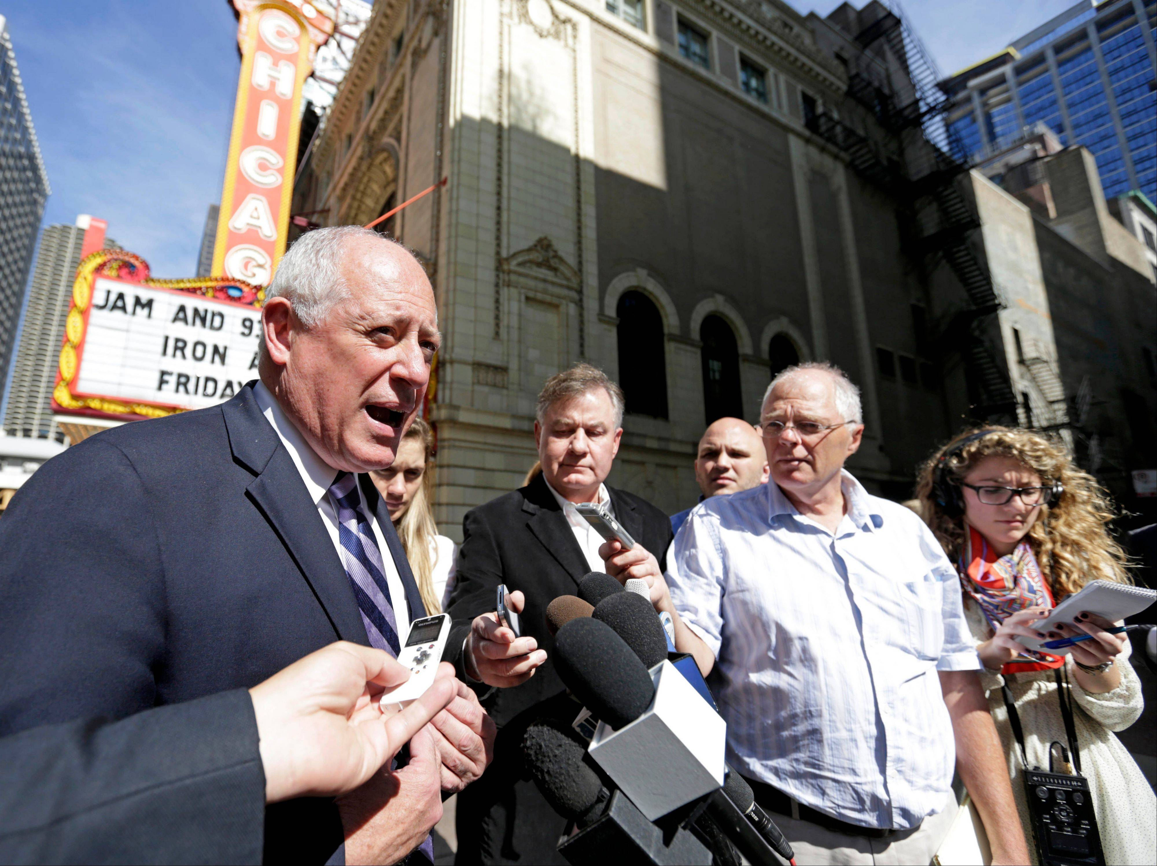 Gov. Pat Quinn speaks to reporters Fridayin Chicago after Cook County Judge Neil Cohen refused his request to stop legislators from being paid while he appeals Thursday�s court ruling that his action was unconstitutional.