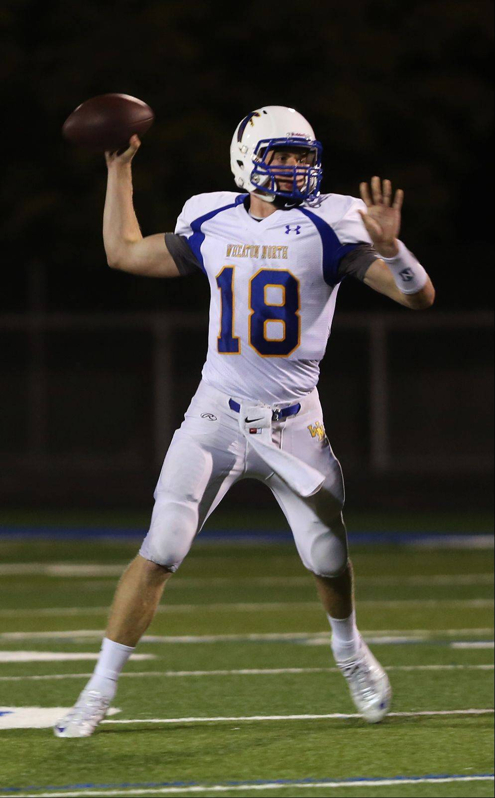 Wheaton North quarterback Clayton Thorson eyes downfield against Lake Park.