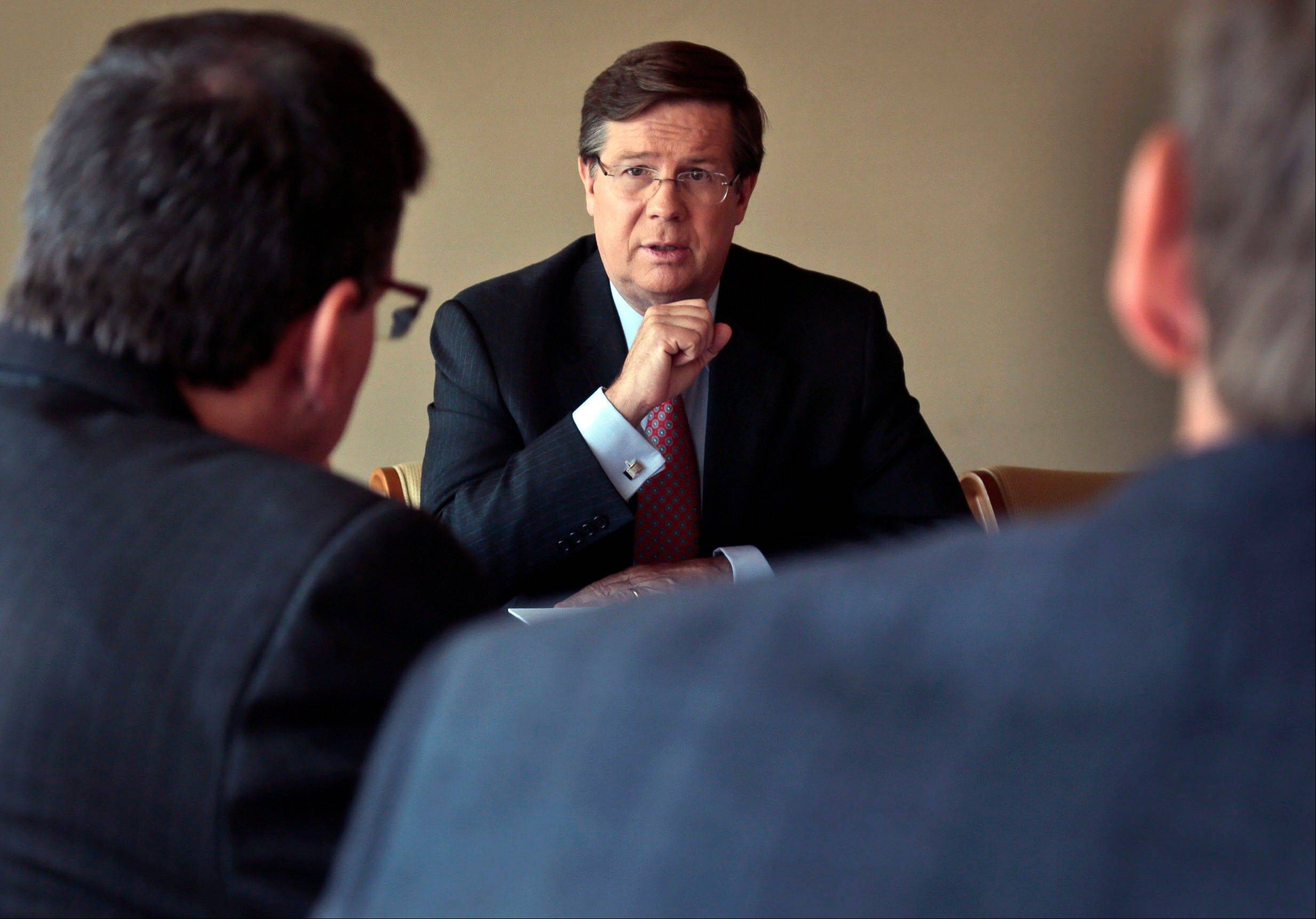 James Lentz, president and chief operating officer of Toyota in North America, speaks during an interview on Thursday.