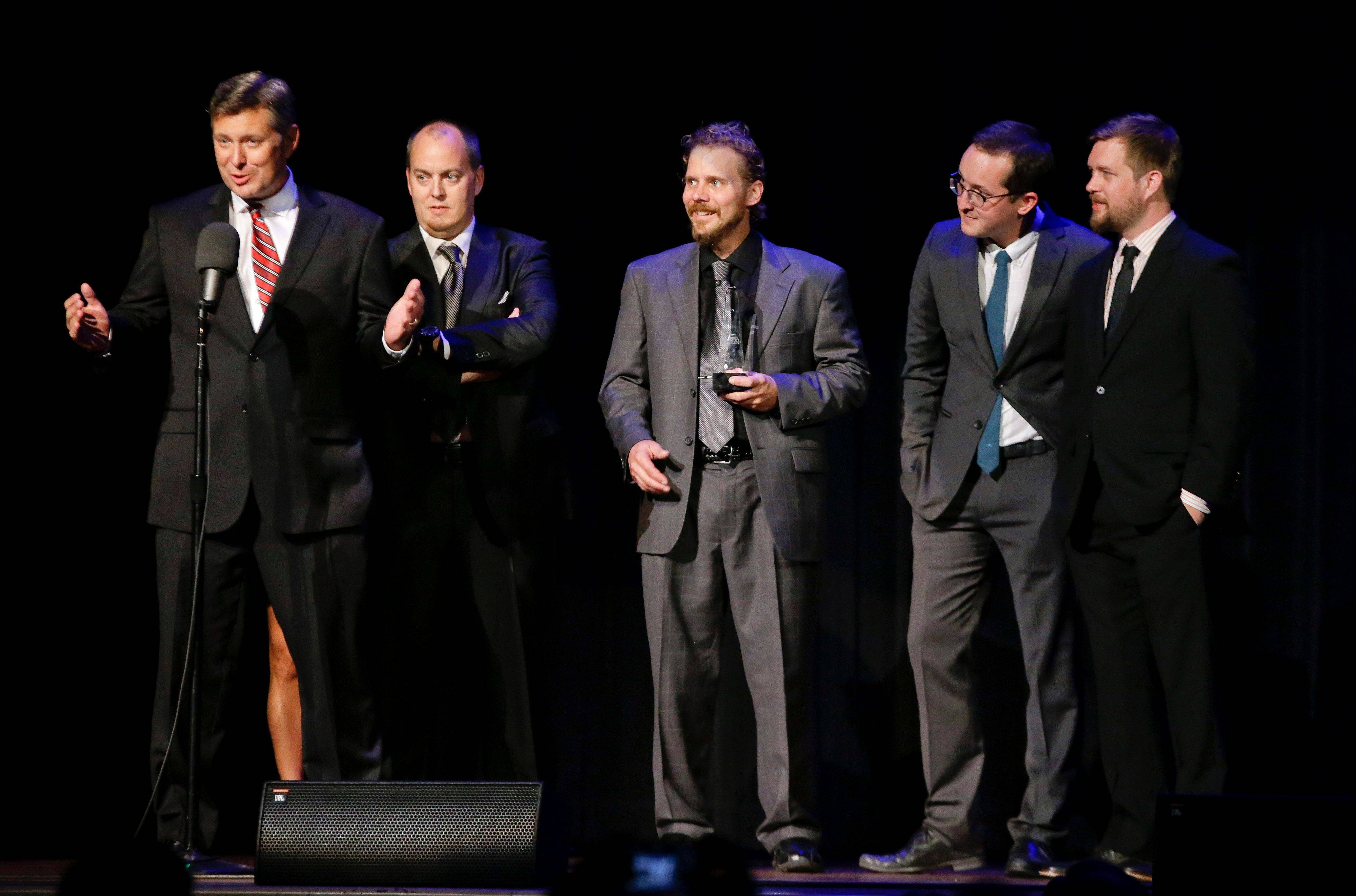 The Gibson Brothers have won entertainer of the year for a second straight year at the International Bluegrass Music Awards Thursday, Sept. 26, 2013, as well as three other group and individual trophies.