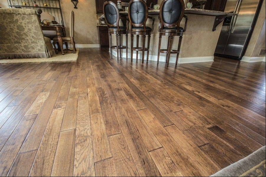 Wood floors with wider planks and a worn, distressed look have grown in popularity.