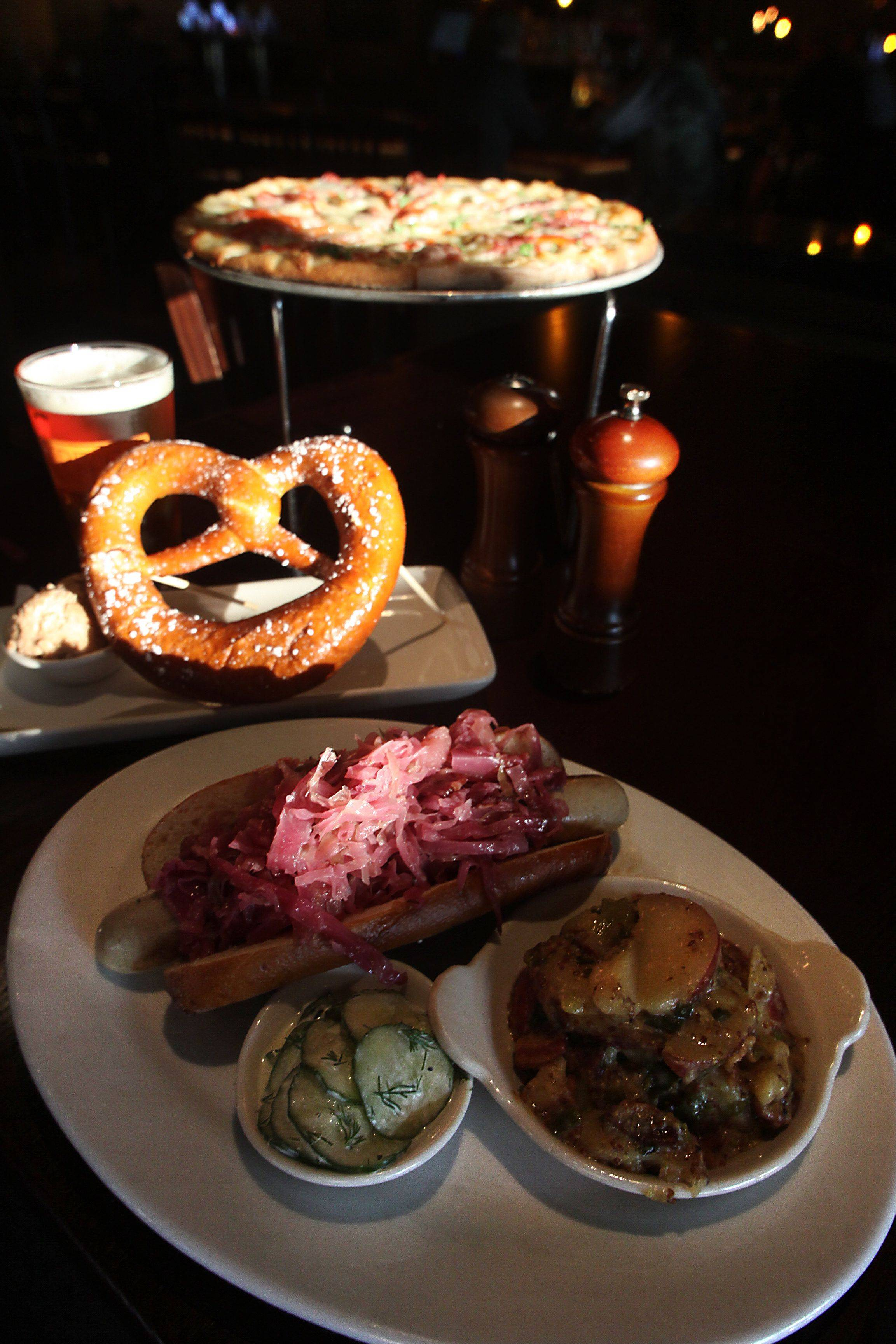 The Lucky Monk's Oktoberfest offerings include in-house brewed Oktoberfest lager, wurste, a sweet pretzel and German pizza.