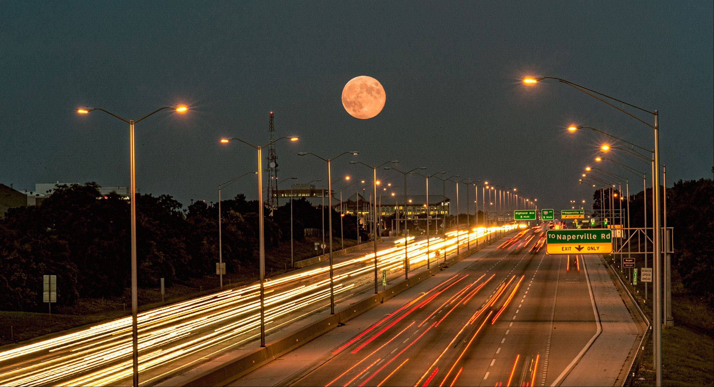 This is a harvest moon I took on I-88 in Naperville.