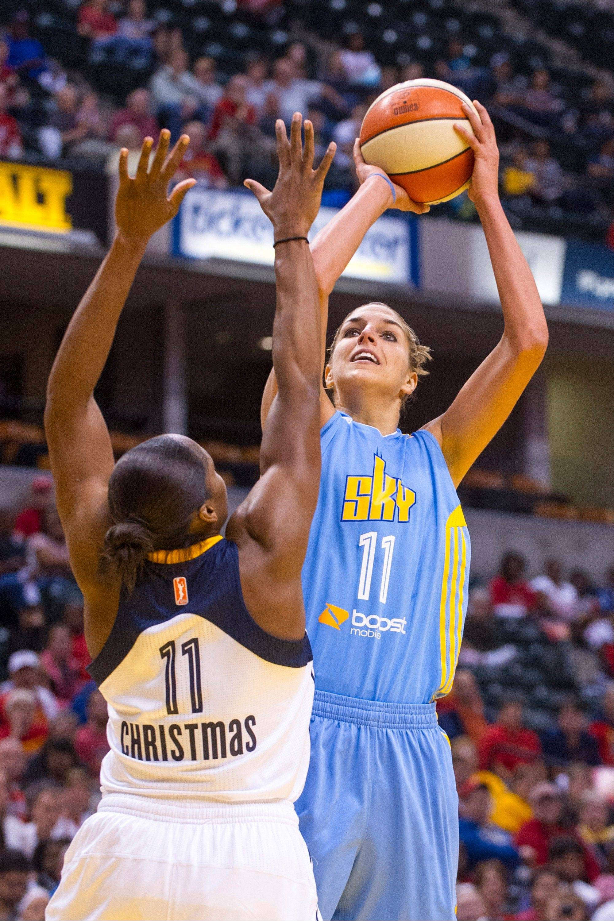 Sky forward Elena Dell Donne takes a shot over the defense of Indiana Fever guard Karima Christmas during Game 2 of the WNBA Eastern Conference semifinals.