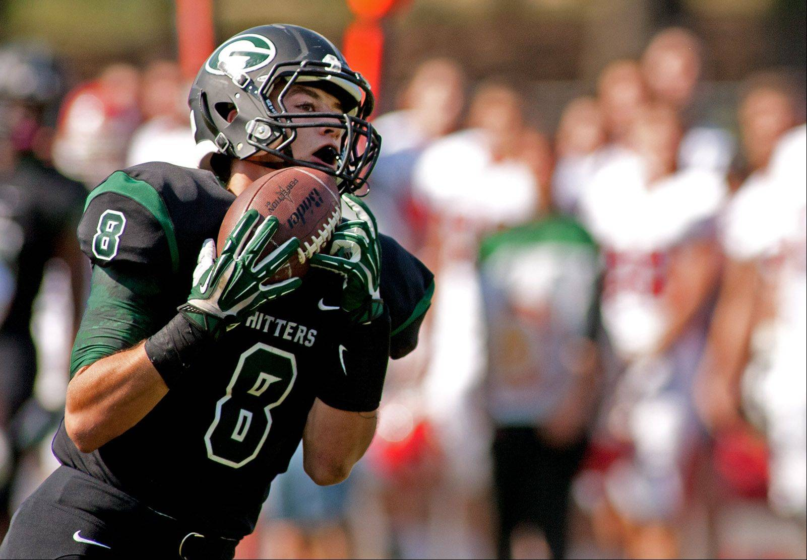 Glenbard West�s Hayden Carlson catches a first half touchdown pass against Hinsdale Central.