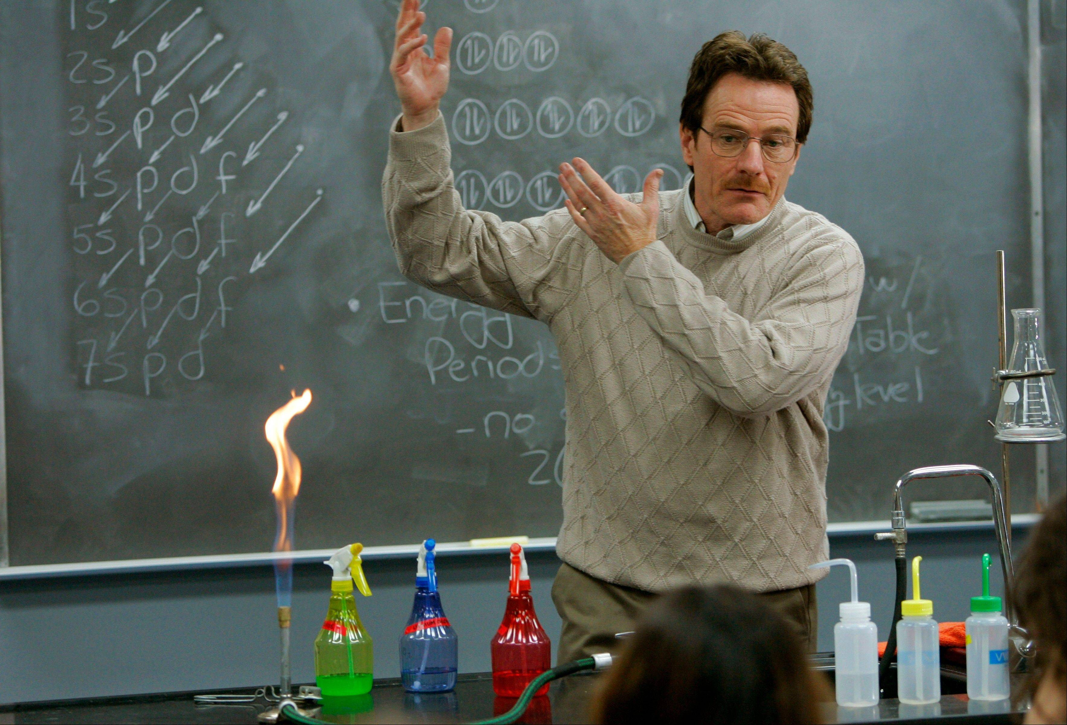 "Walter White (Bryan Cranston) is a mild-mannered chemistry teacher by day before things start to go downhill during the first season of ""Breaking Bad,"" which airs its finale Sunday."