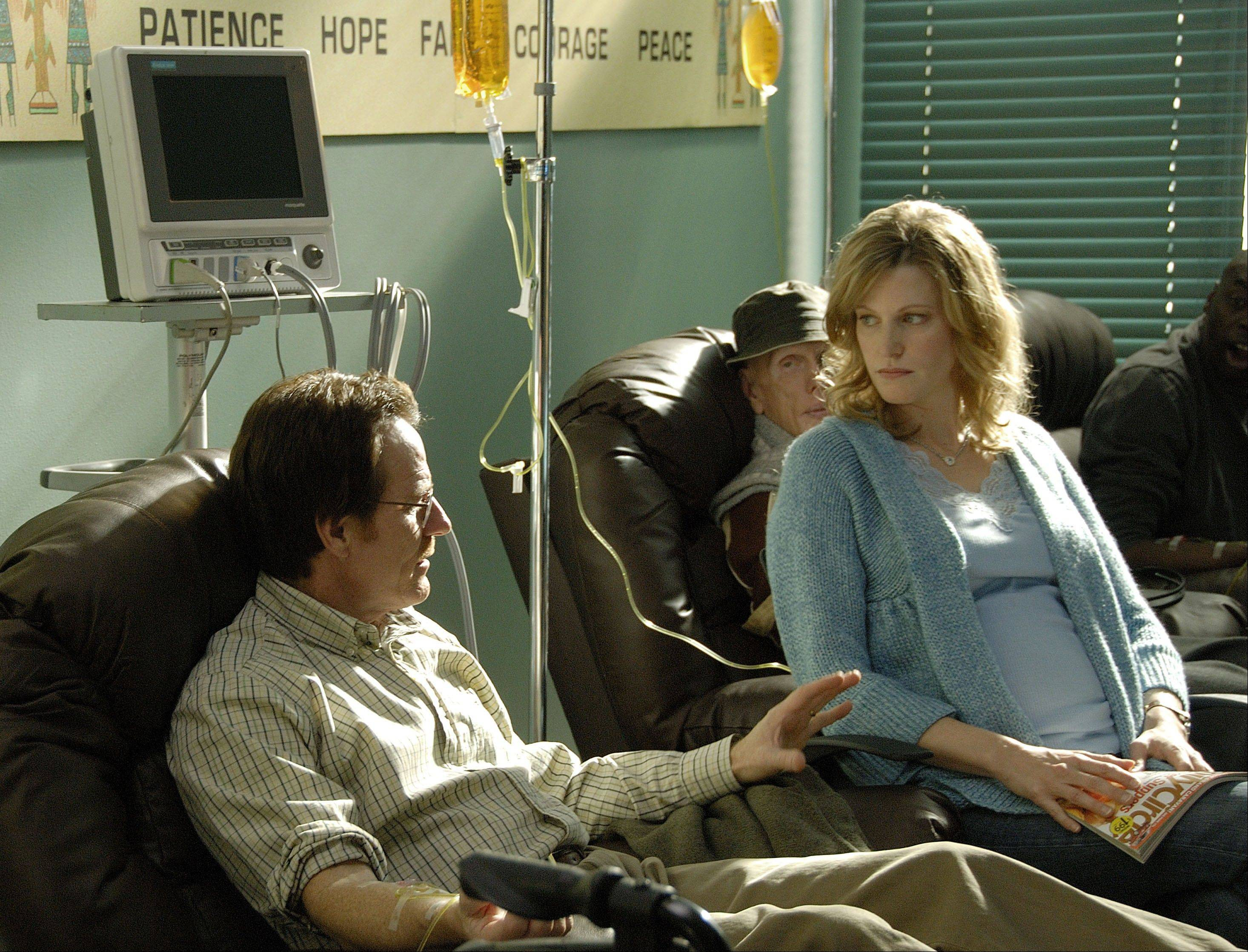 "Remember when times were simple? Walter White (Bryan Cranston) and his wife Skyler (Anna Gunn) talk during Walt's chemotherapy treatment back in the first season of ""Breaking Bad."""