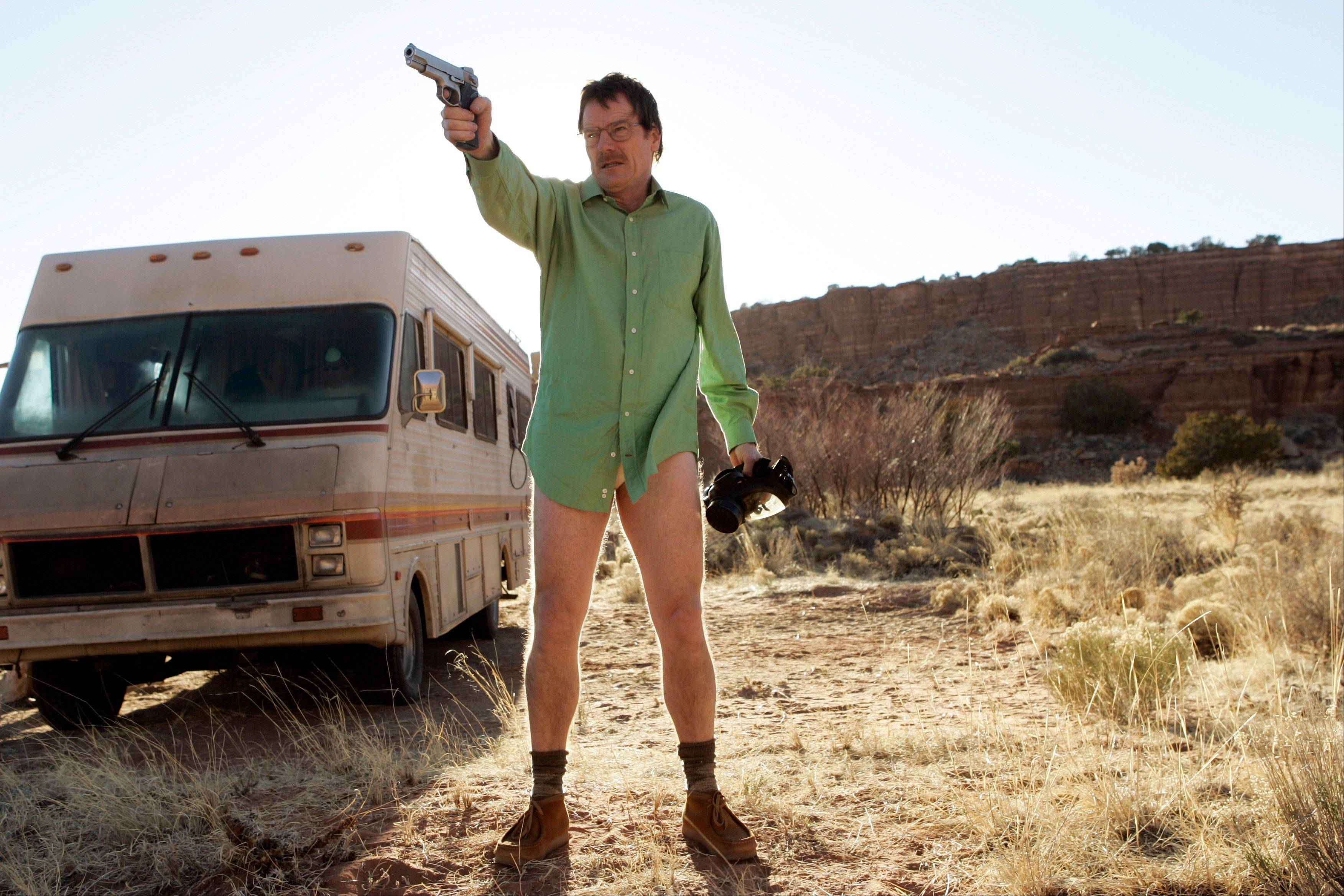 "Walter White (Bryan Cranston) prepares to defend the Winnebago he uses as a mobile meth lab in the pilot episode of ""Breaking Bad."" The series finale of the popular drama series airs Sunday."