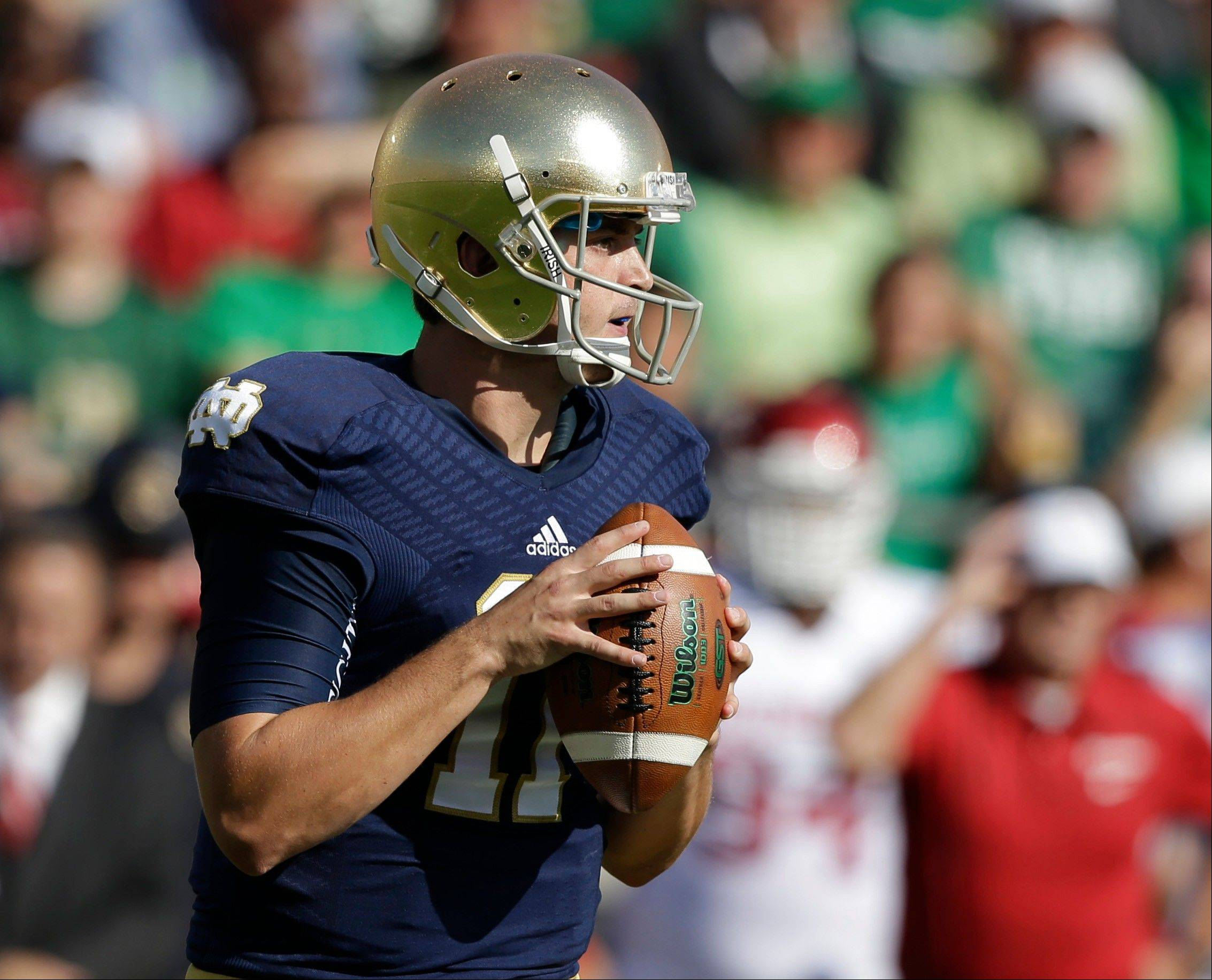 Notre Dame's Tommy Rees (11) looks to throw during the game against Oklahoma Saturday.