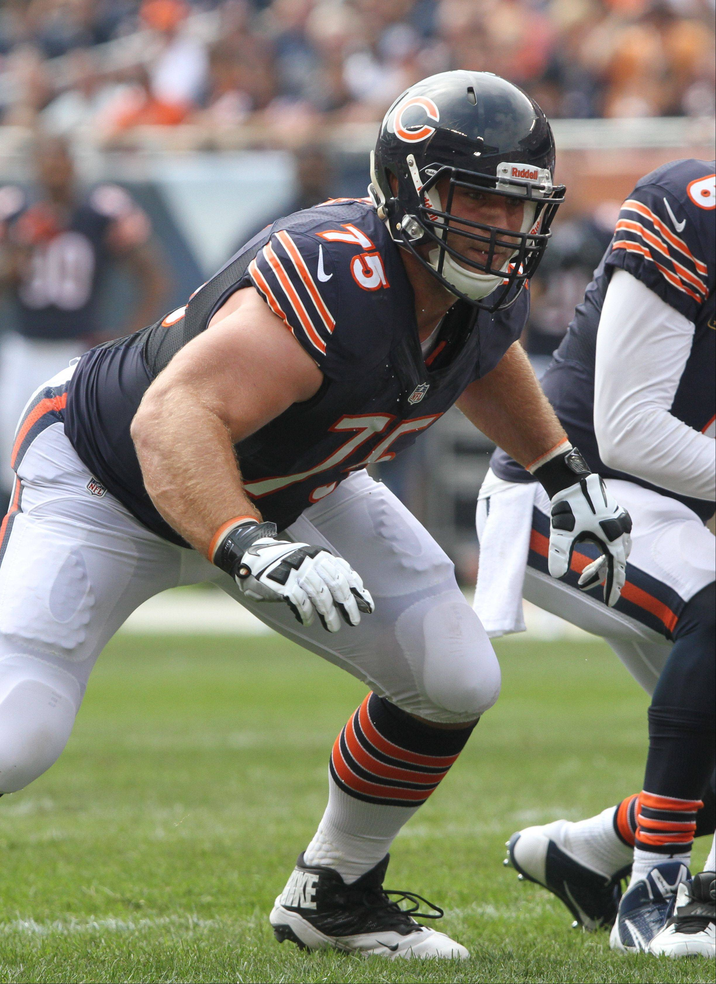 Bears offensive guard Kyle Long blocks during their opening day game against the Cincinnati Bengals. Long has proven to be a quick study, but the rookie will have his hands full today against the Lioins' Ndamukong Suh and Nick Fairly.