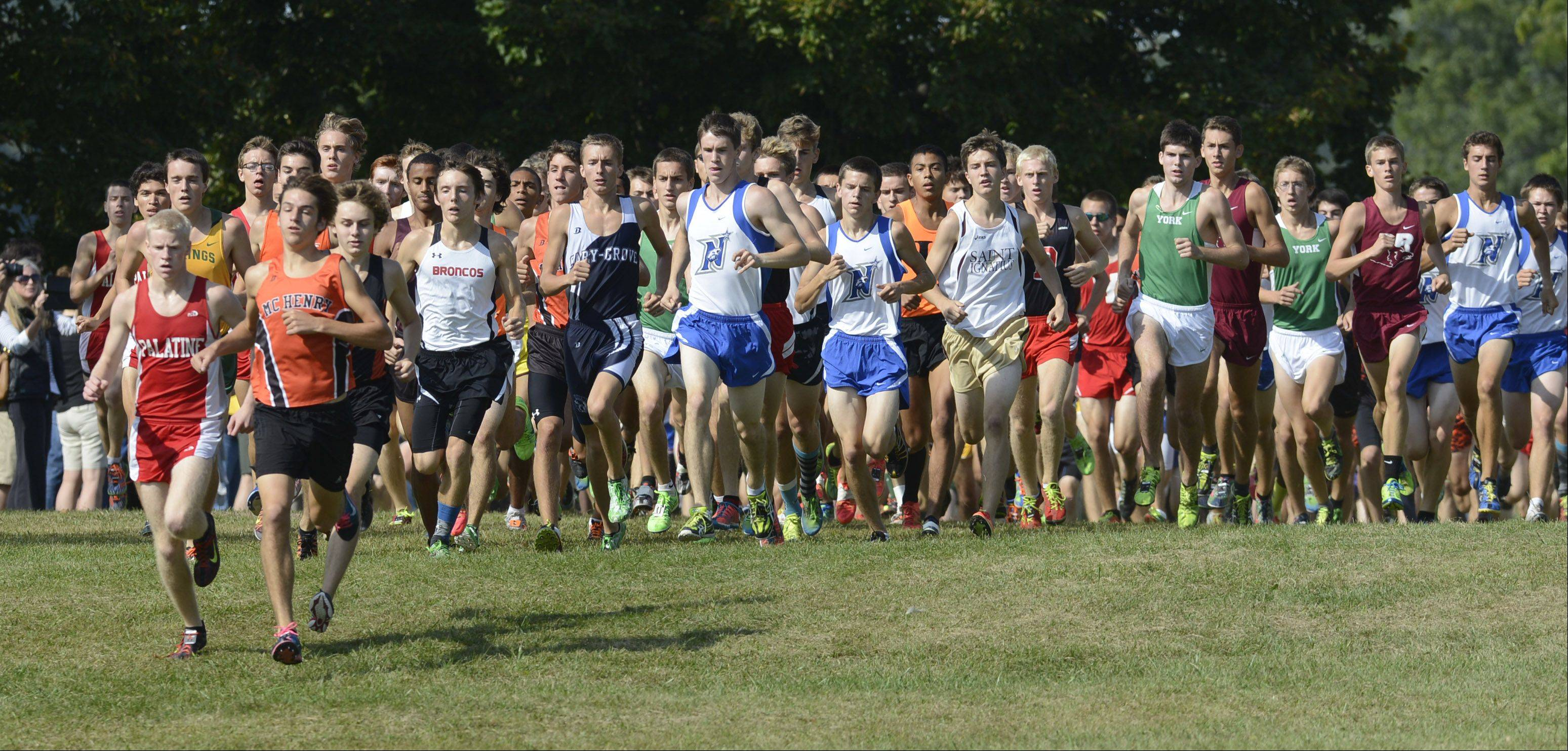 Competitors in the boys race top a small hill just after the start during the Palatine Invitational at Deer Grove East on Saturday.