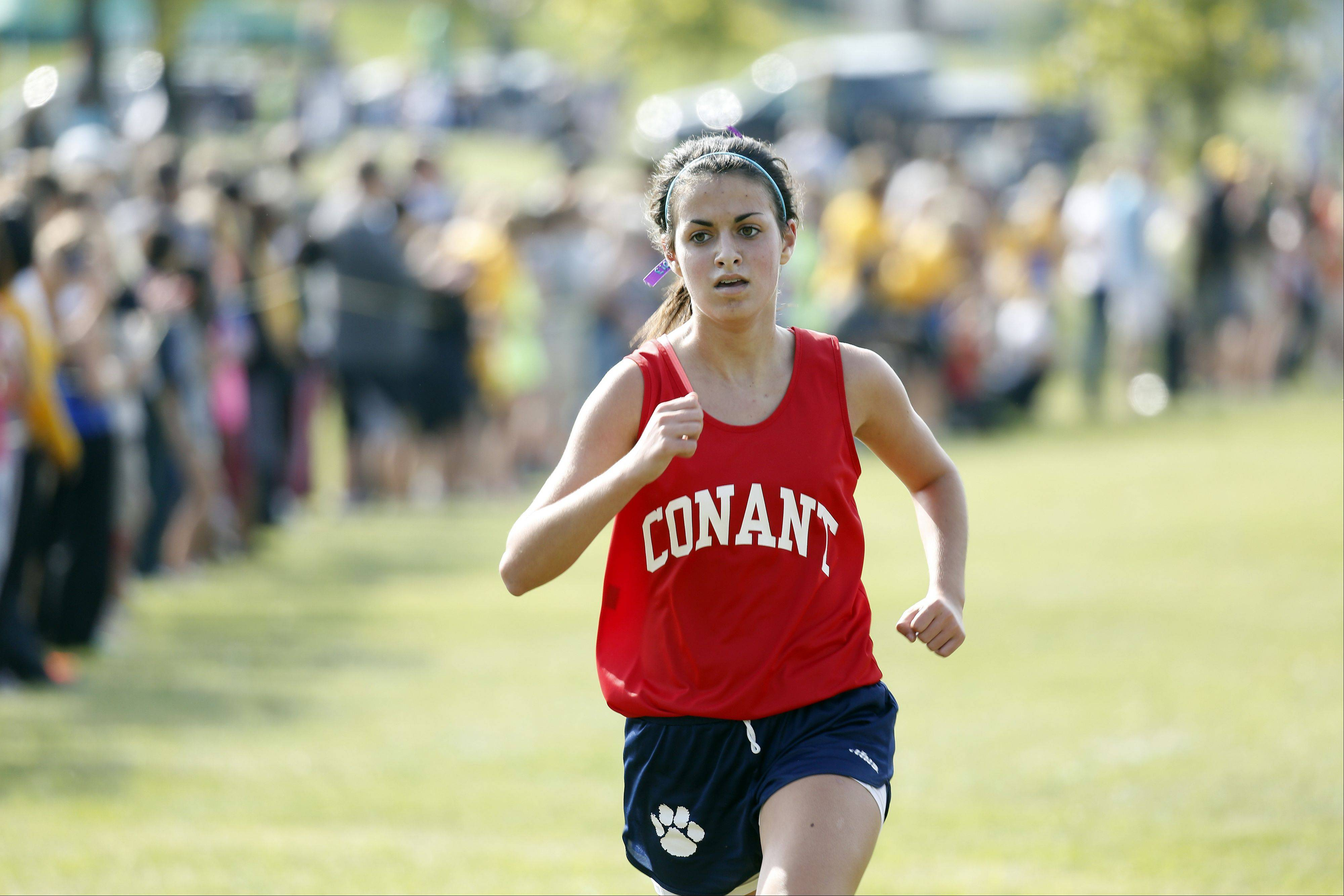 Conant's Zoe Shoro during the Flyin' Hawk Cross Country meet Saturday at Sunrise Park in Bartlett.