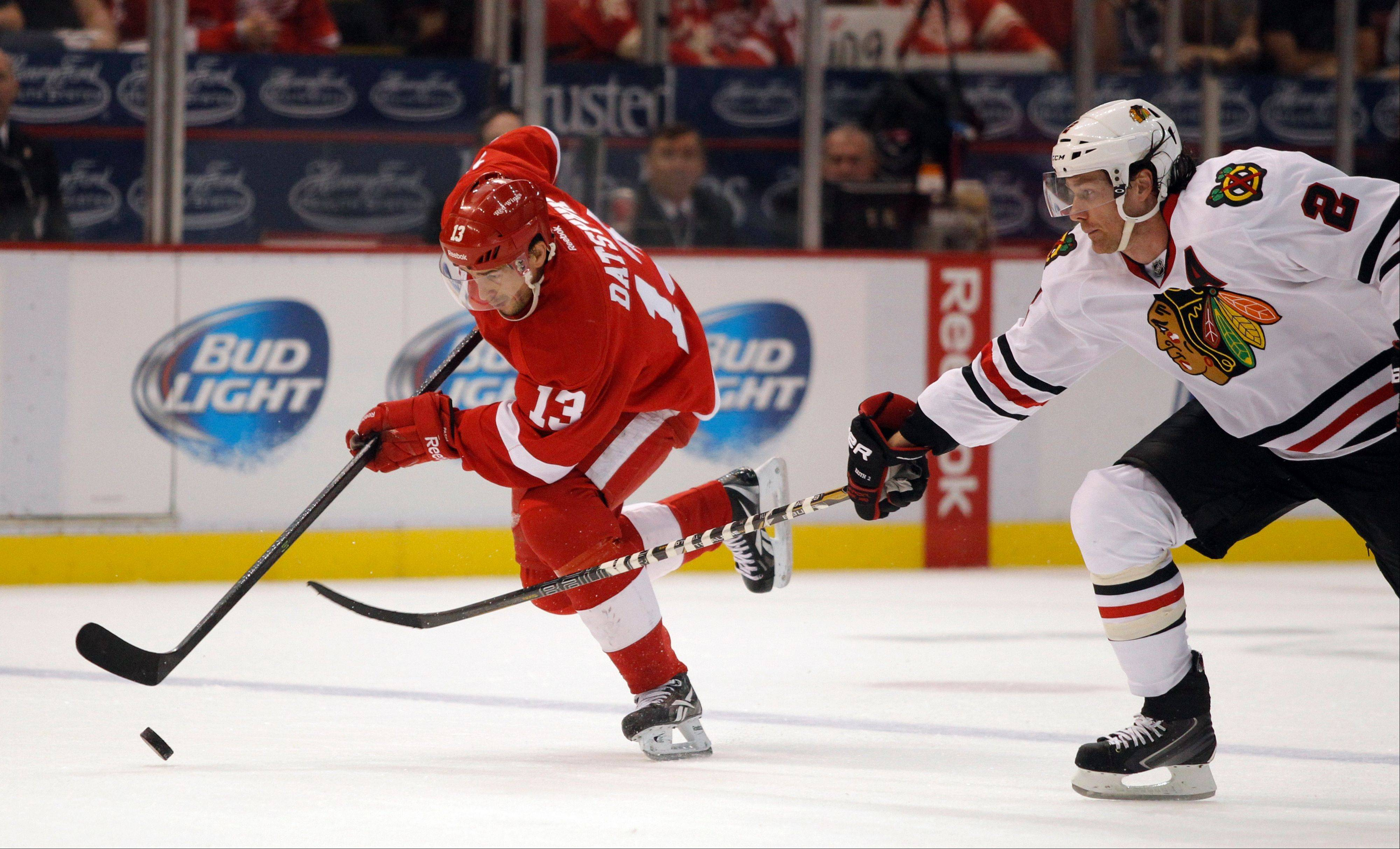 With the NHL's realignment shifting the Detroit Red Wings to the Eastern Conference, Pavel Datsyuk won't have to battle Blackhawks defenseman Duncan Keith as often.