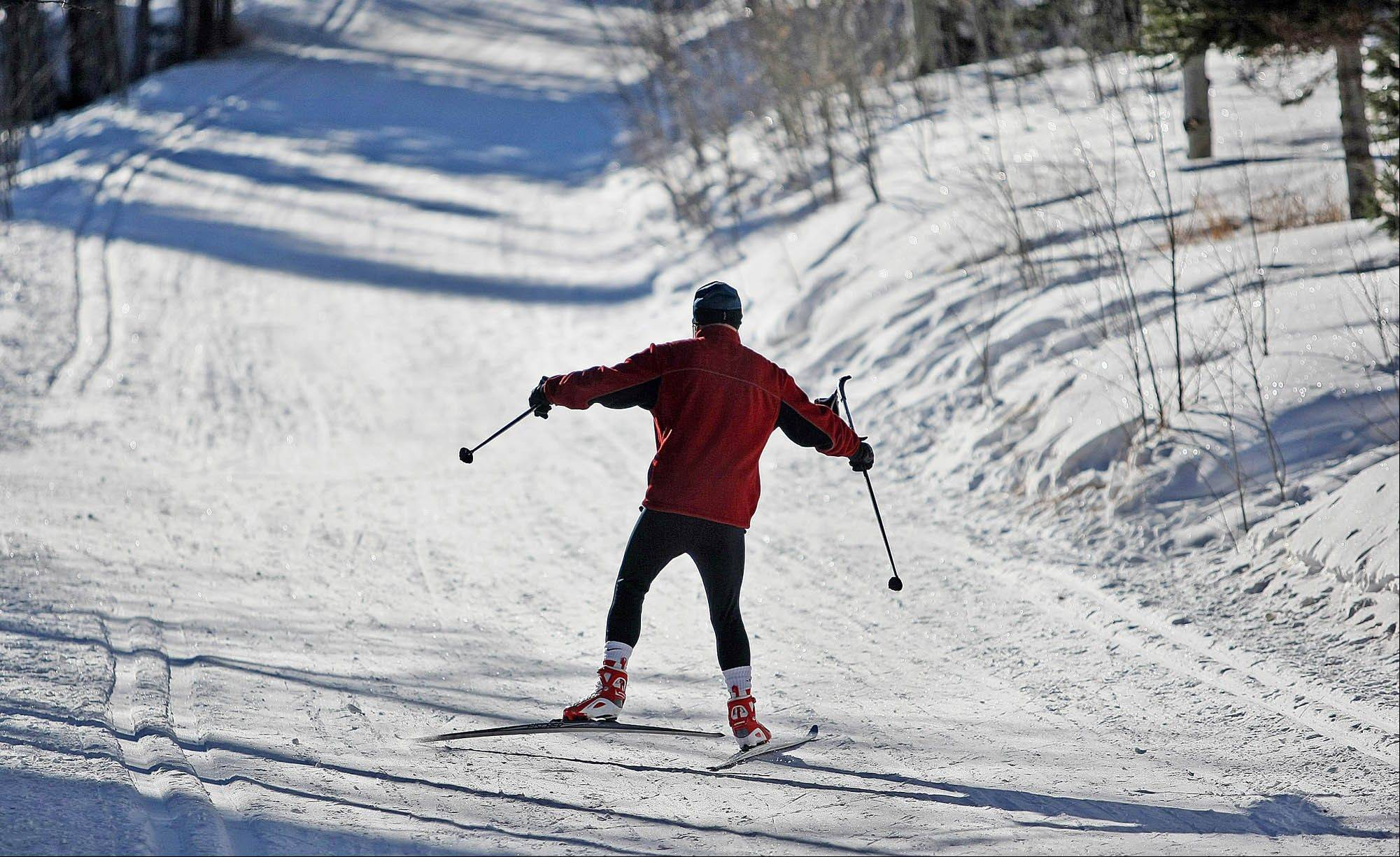 A cross-country skier in Medicine Bow National Forest's Tie City in Albany County, Wyo.
