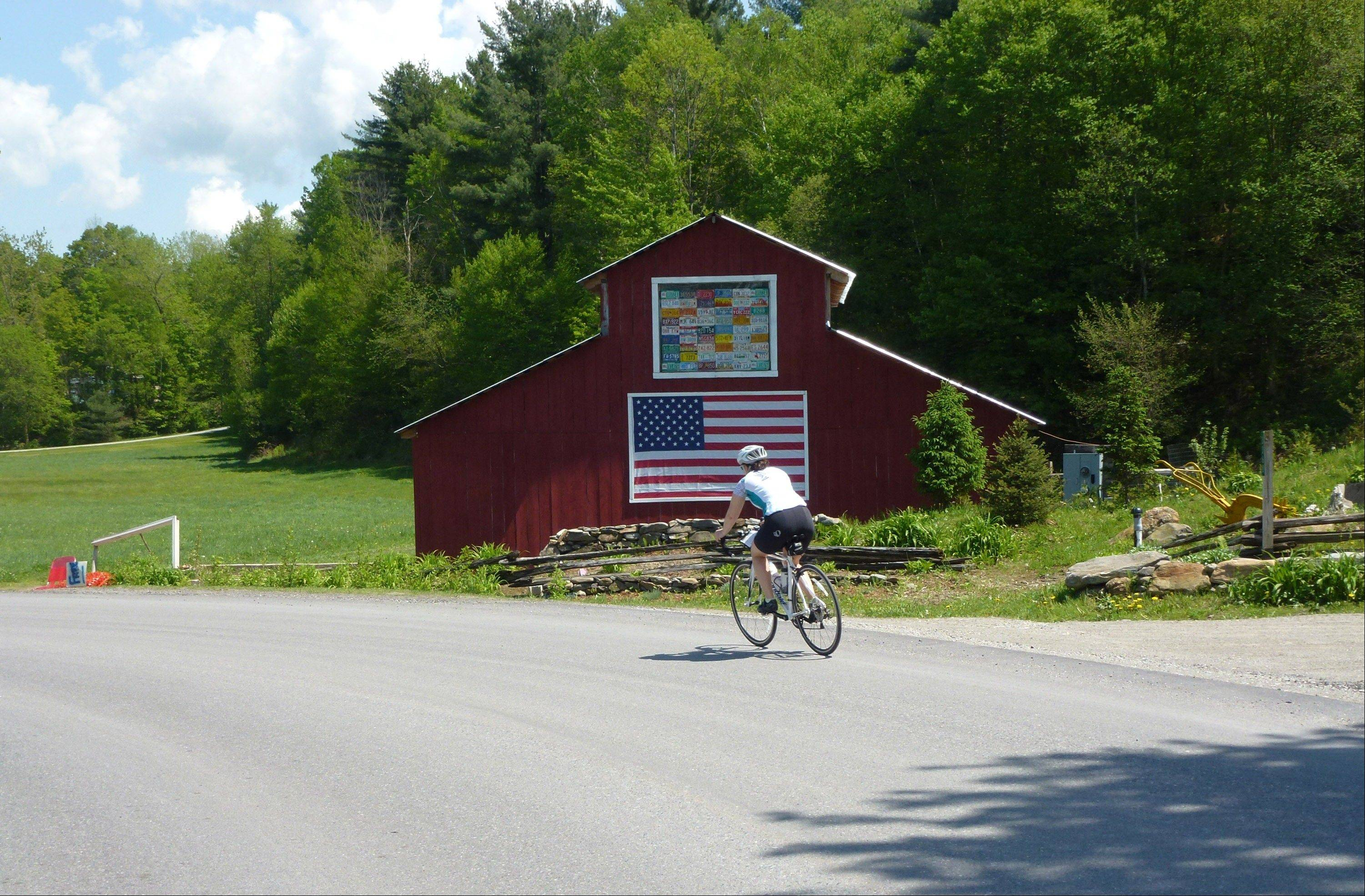 A cyclist hits the road as part of the Vermont Bike & Brew Tour.