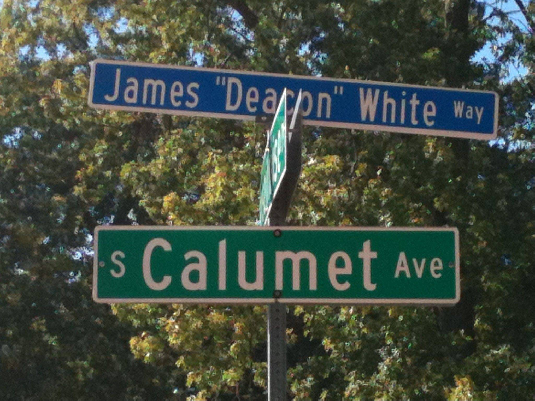 "Aurora officials formally dedicated the 200 block of Calumet Avenue as ""James 'Deacon' White Way"" on Sunday. White was a 19th century baseball legend who earlier this year was inducted to the Baseball Hall of Fame."