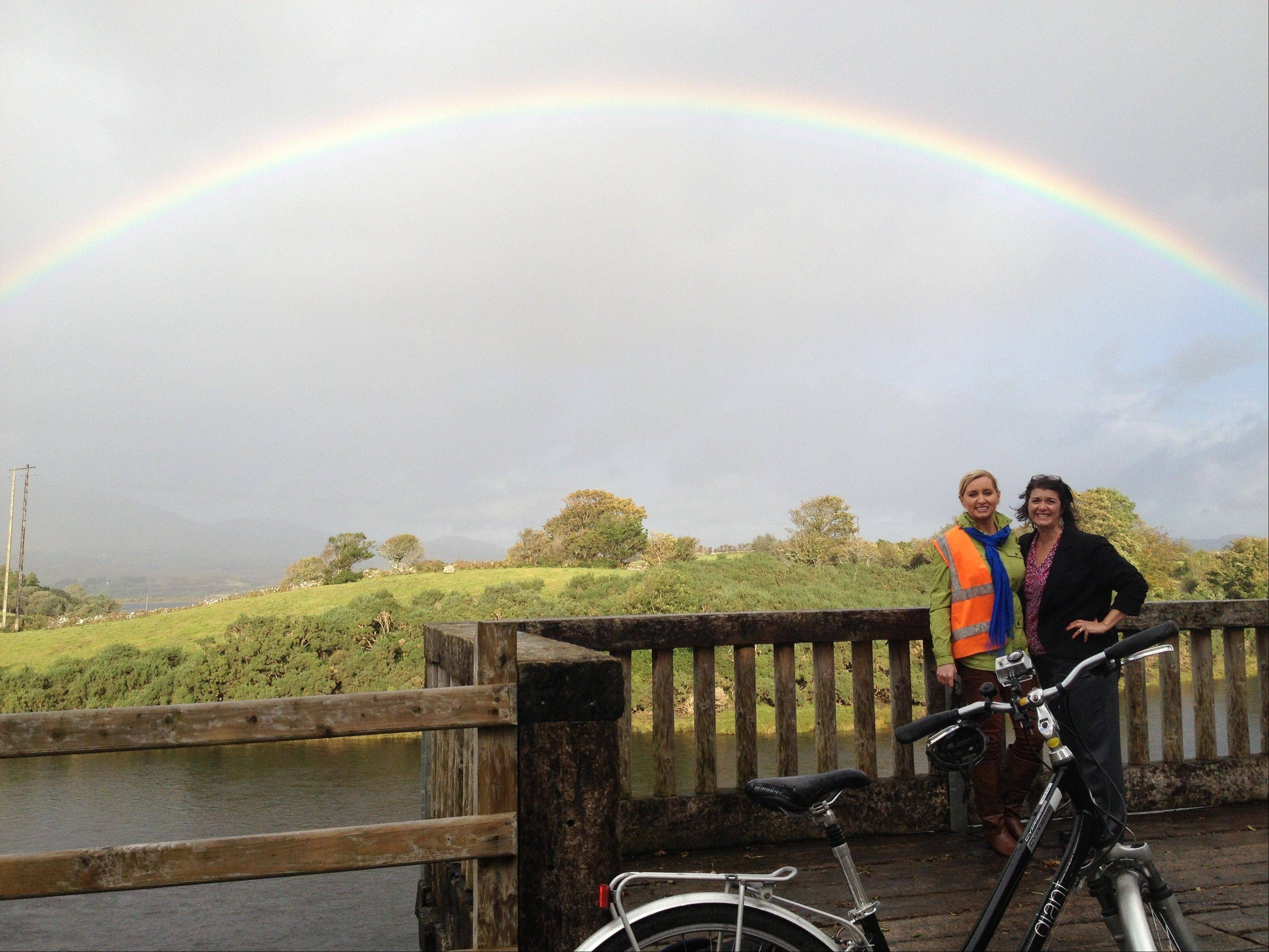 "Colleen Kelly, of Mount Prospect, left, host of the PBS series, ""Family Travel with Colleen Kelly,"" poses with her co-executive producer, Tricia Fusilero, also of Mount Prospect, while on location in Ireland."