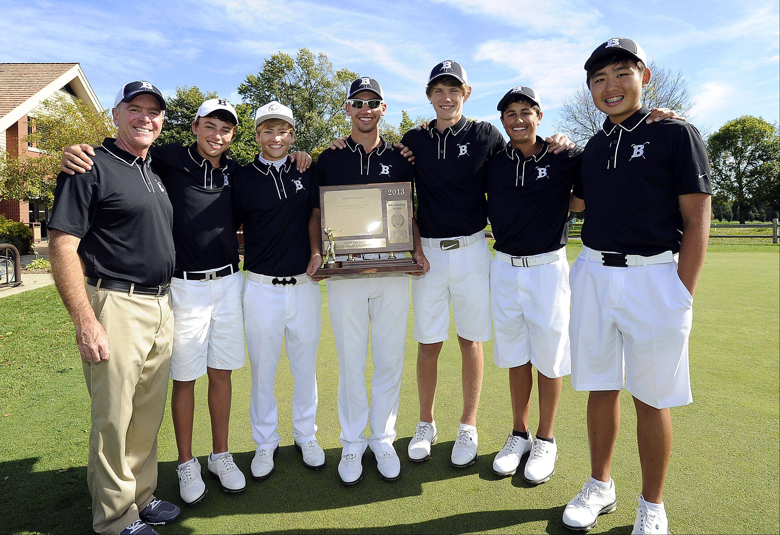 Barrington, winner of the Mid-Suburban League boys golf championship: from left, coach Mike Kallenbach, Joey Batliner, Burke Barsamian, medalist Brad Powell, Cole Kempinski, Tom Calbi and Tim Lim.