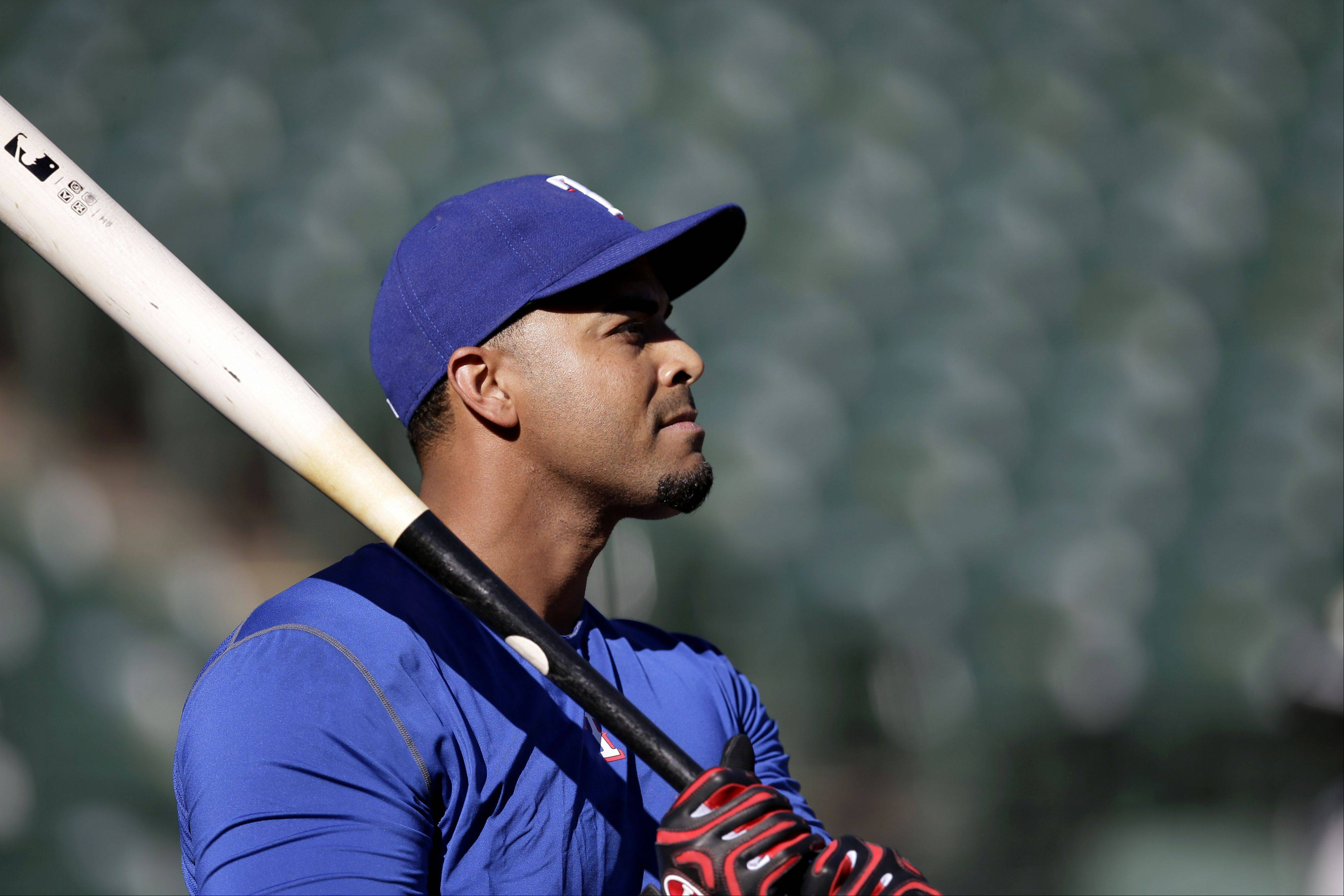 The Rangers� Nelson Cruz takes batting practice before Monday�s American League wild-card tiebreaker against the Tampa Bay Rays in Arlington, Texas.