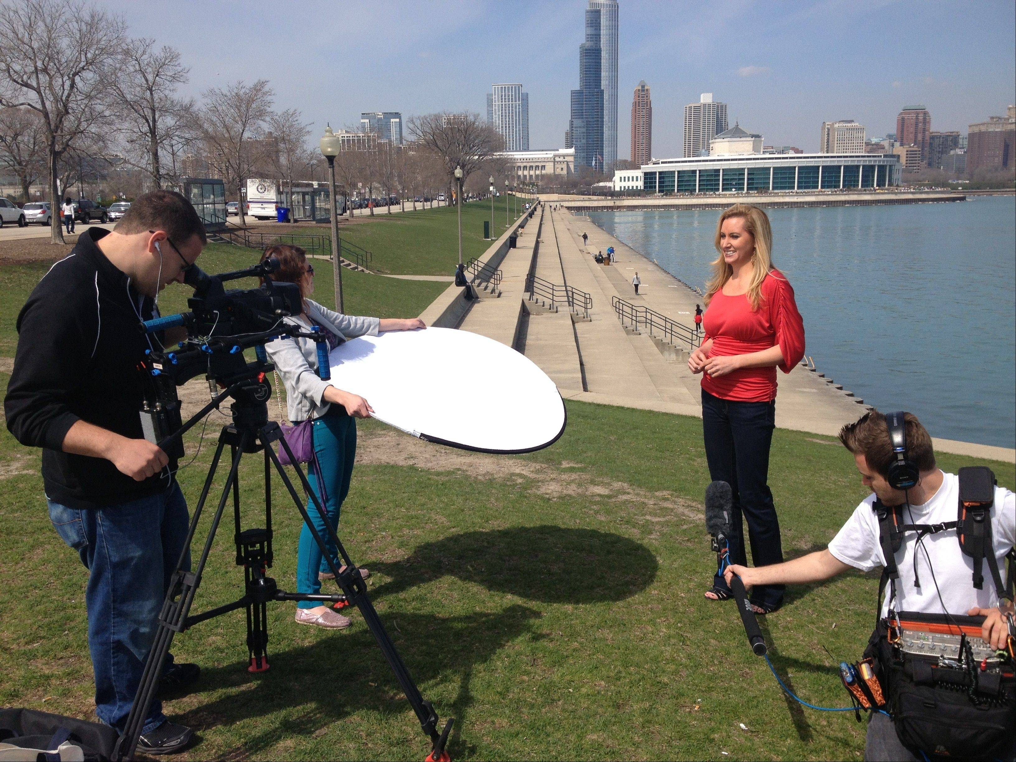 "Colleen Kelly, of Mount Prospect, films a Chicago episode of her PBS series, ""Family Travel with Colleen Kelly."""