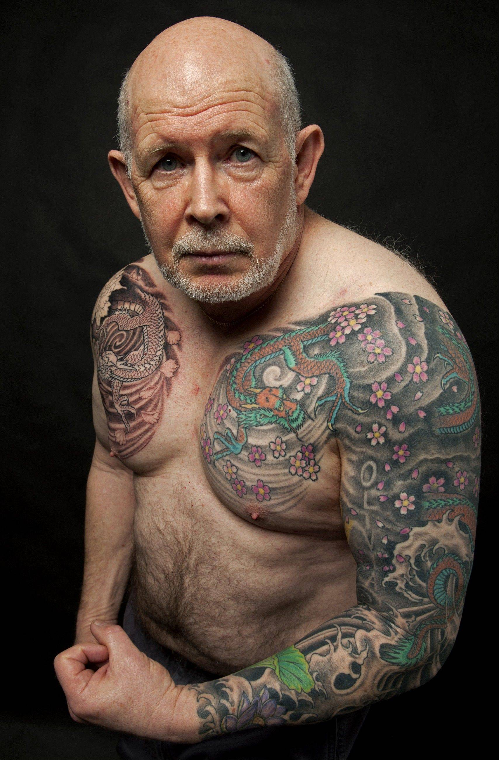 Dave Forties started getting tattoos after he retired from the Army in 1998. Some of his tattoos were inspired by his collection of Japanese porcelain.