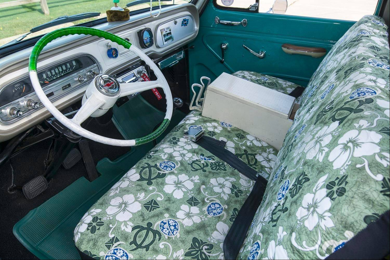 The new Glenwood Green paint carries over into the Corvair's interior.
