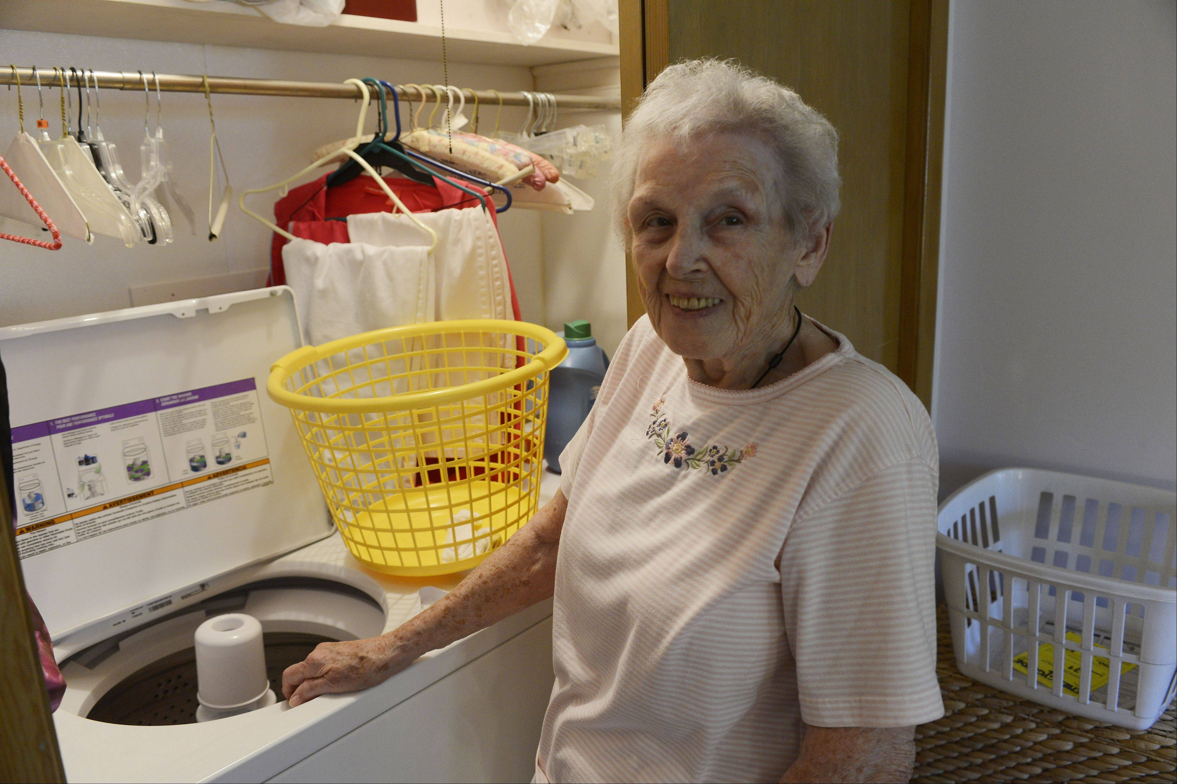 Margaret Fletcher of Des Plaines has a laundry room which was built into her bedroom closet so she does not have to go into the basement. Angel Guardian, a Barrington-area business co-founded by Fletcher's daughter-in-law, helps make seniors' homes safe to live in after they begin to lose their physical abilities and strength.