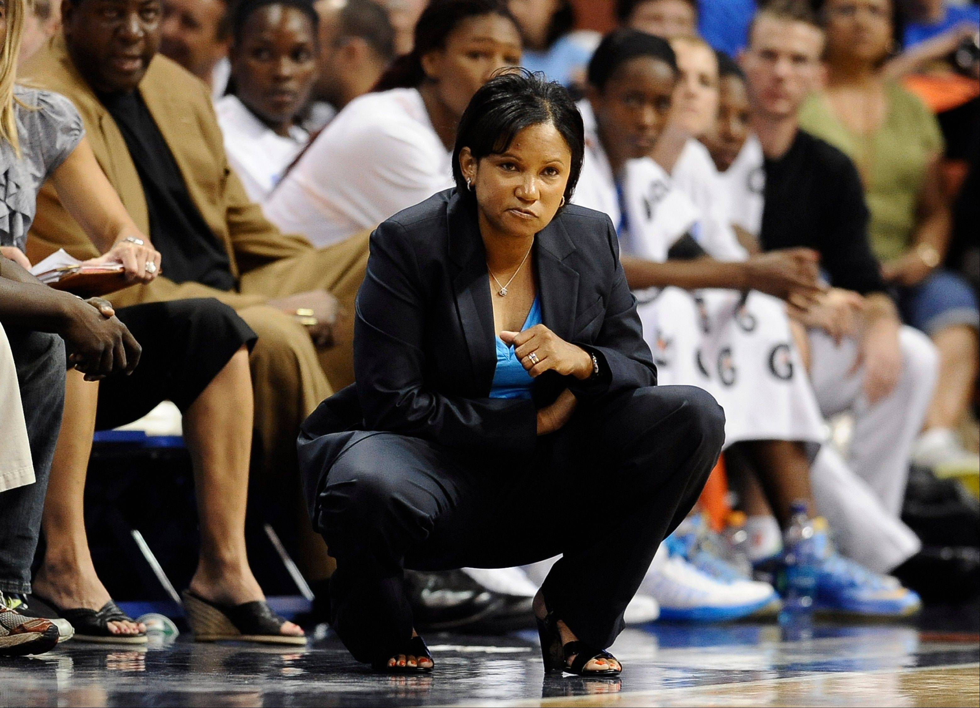 Coach Pokey Chatman watches the Chicago Sky play during an Aug. 9 game against the Connecticut Sun in Uncasville, Conn.