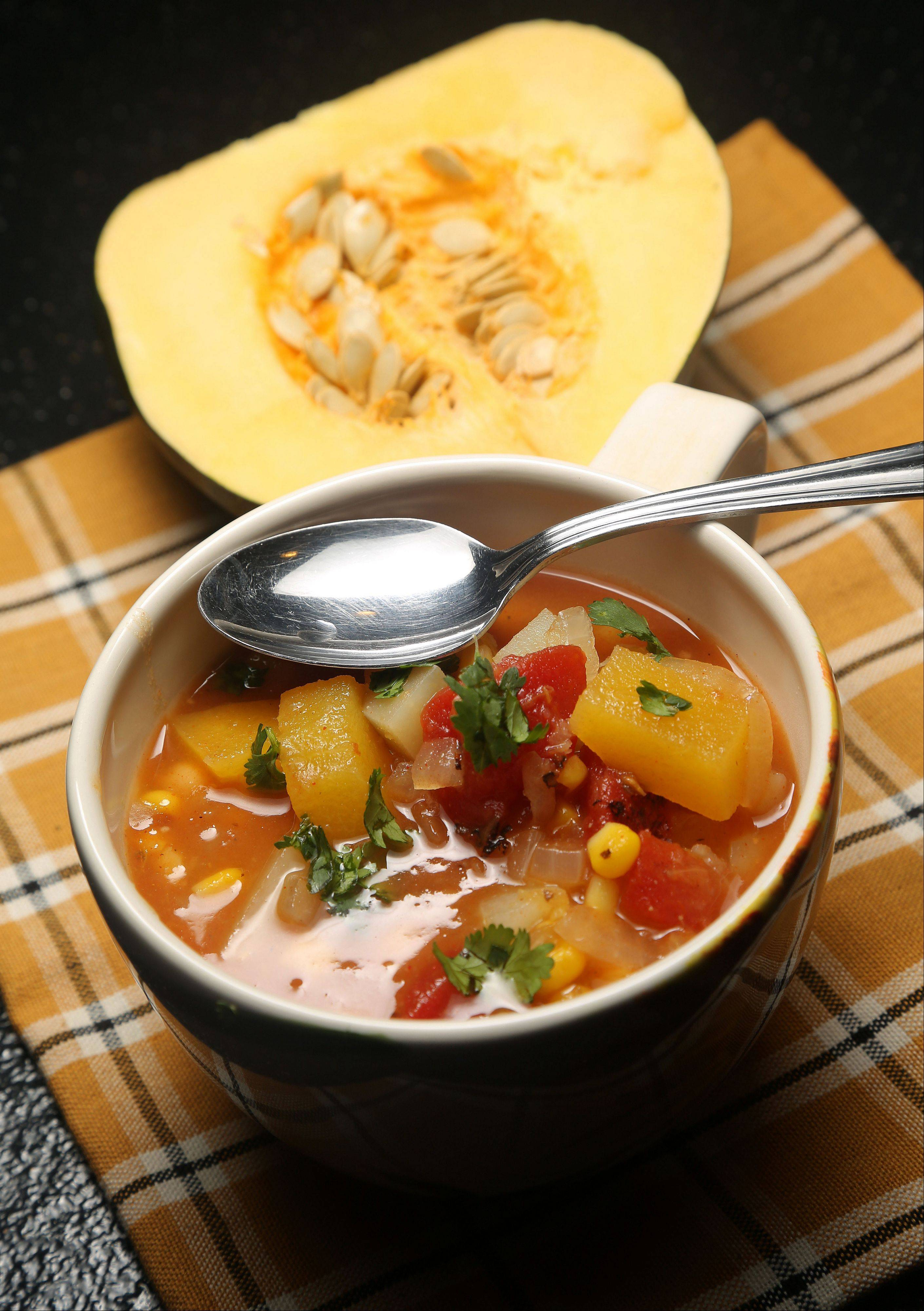 Beans add healthful fiber and protein and make this autumn squash soup a hearty meatless meal.