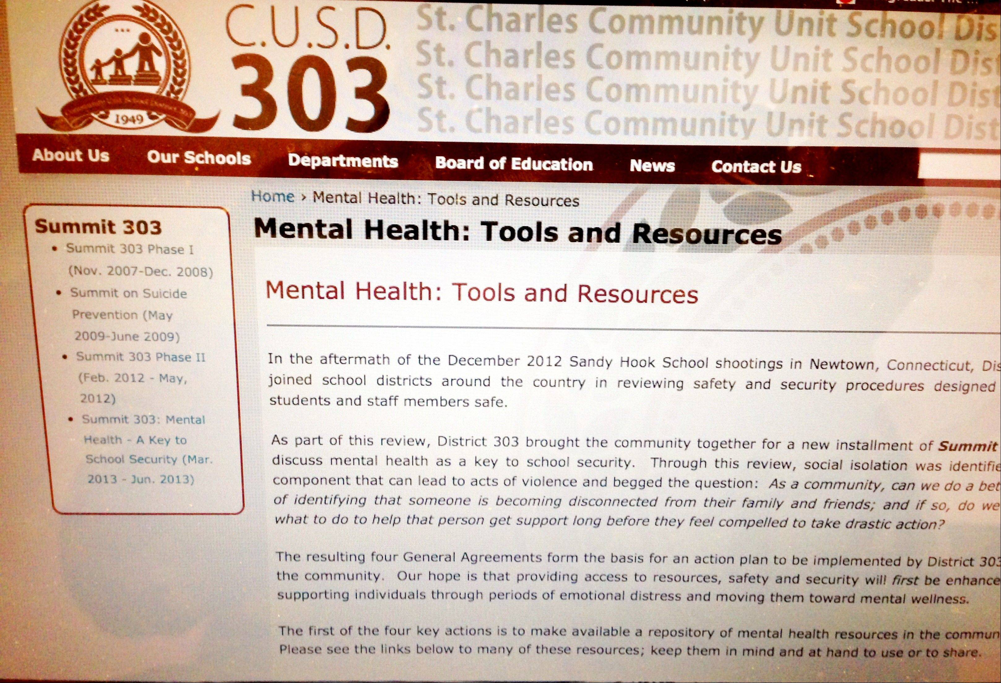 St. Charles Unit District 303 officials have a created a link on their homepage where local residents can find mental health resources.