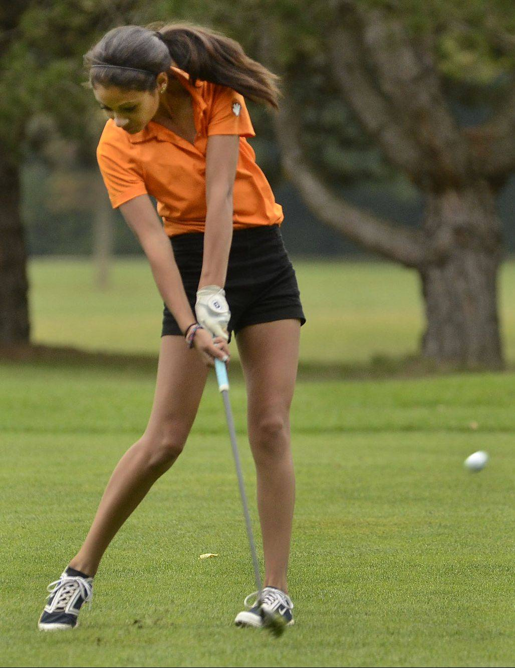Libertyville's Simone Mikaelian hits on the 10th fairway during the North Suburban Conference girls golf meet at Deerpath Golf Course in Lake Forest.