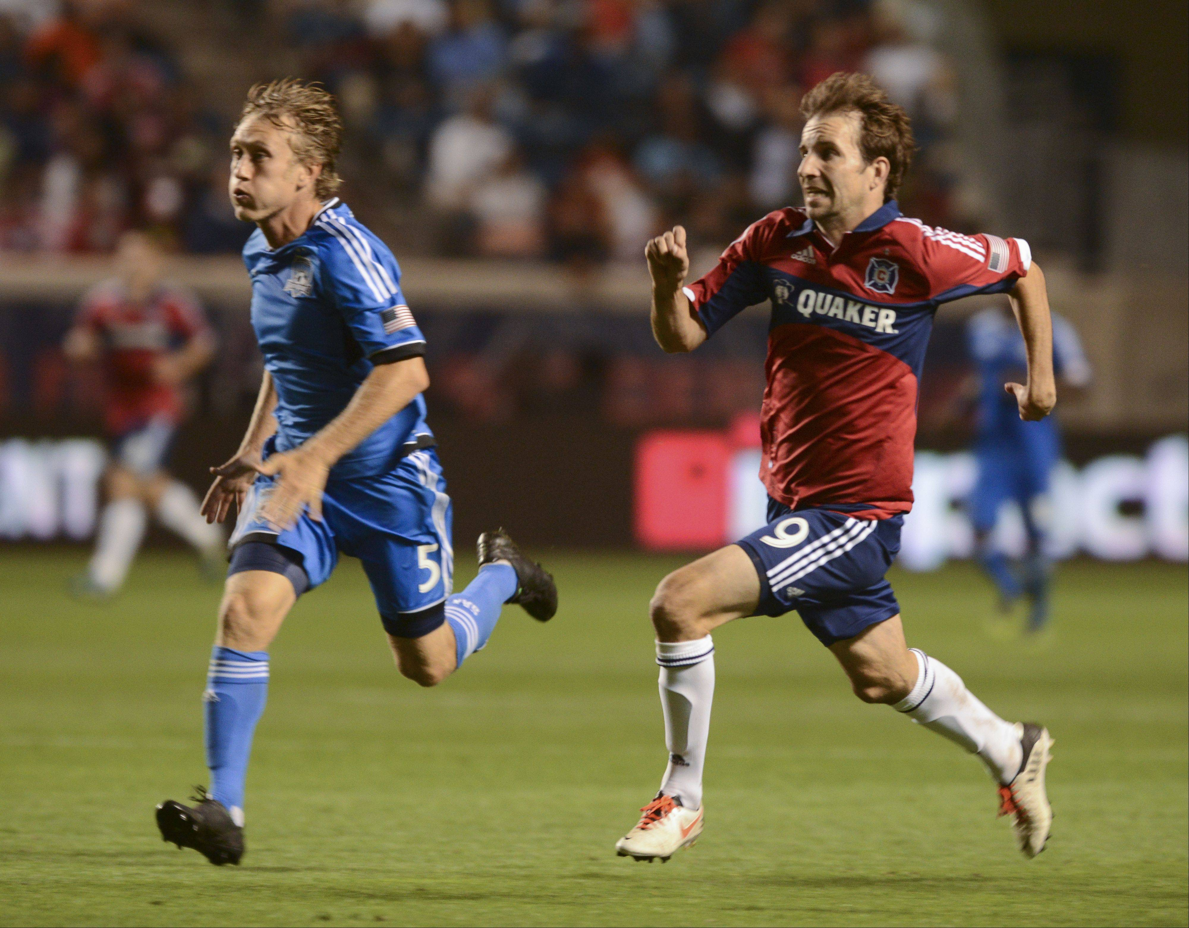Mike Magee of the Chicago Fire during a game against the San Jose Earthquakes at home.
