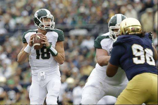 Michigan State quarterback Connor Cook throws against Notre Dame during the Sept. 21 game in South Bend, Ind. The Spartans spent the past nine days in search of consistency and big plays on offense.