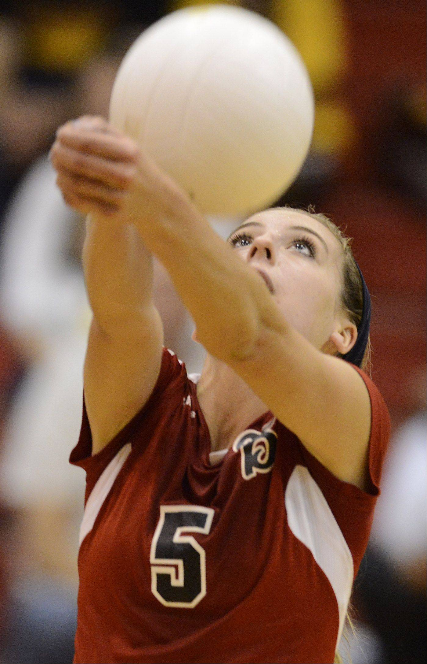 Barrington's Emily Casaletto hustles to keep the ball in play with a dig against Schaumburg Tuesday.