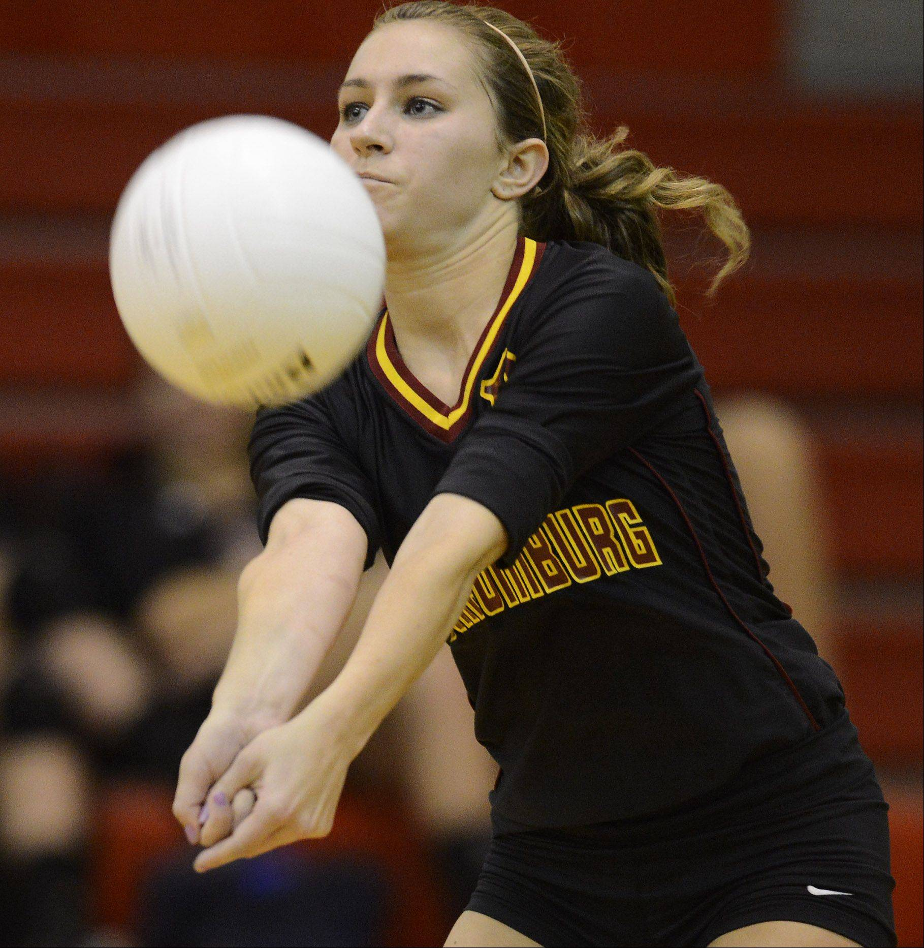 Schaumburg's Sarah Stuehm gets a dig against Barrington Tuesday.