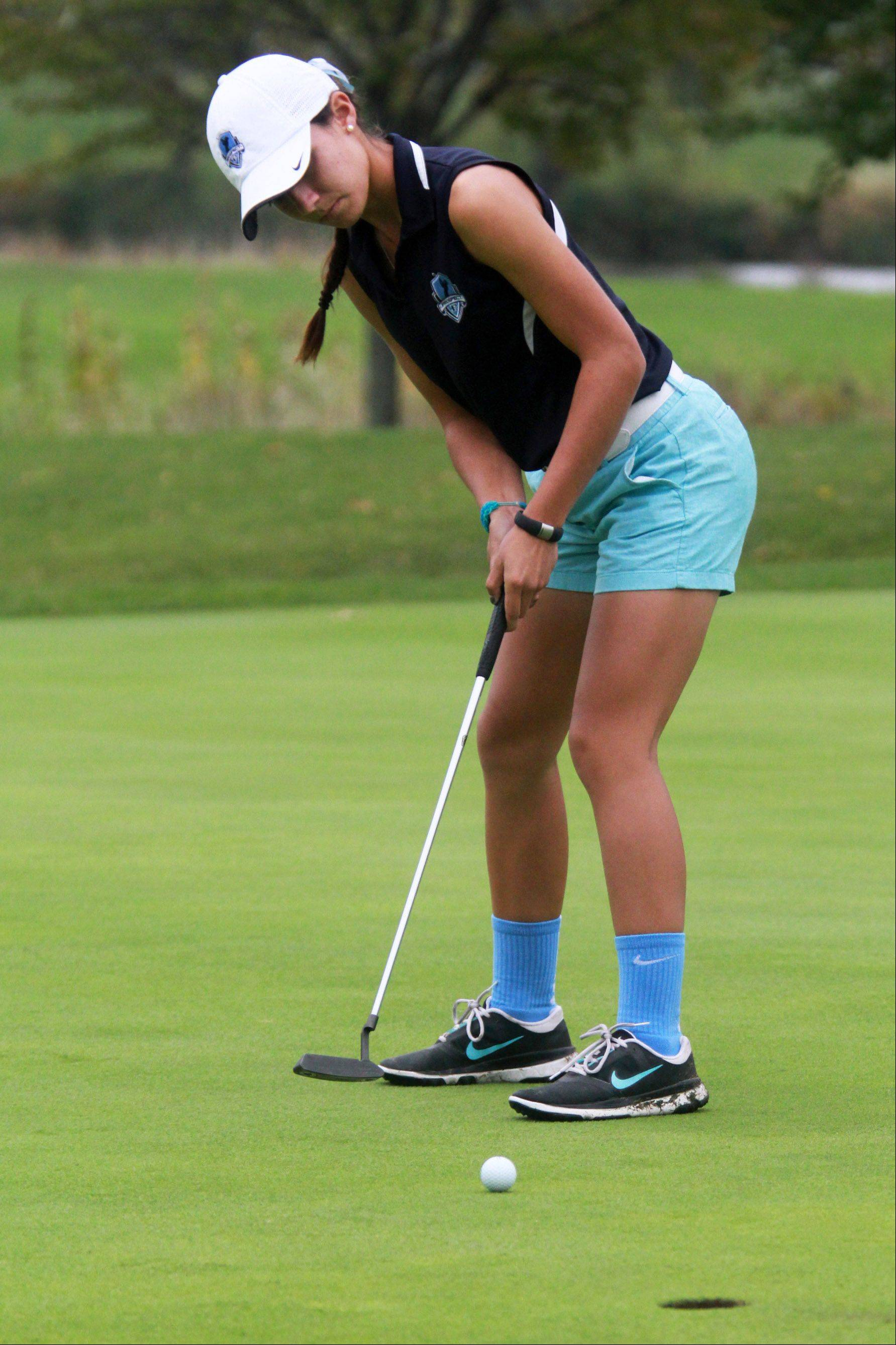 Prospect's Ally Scaccia putts on No. 9 at Fox Run Golf Course in Elk Grove Village on her way to winning the Mid-Suburban League championship with a score of 69 on Tuesday.