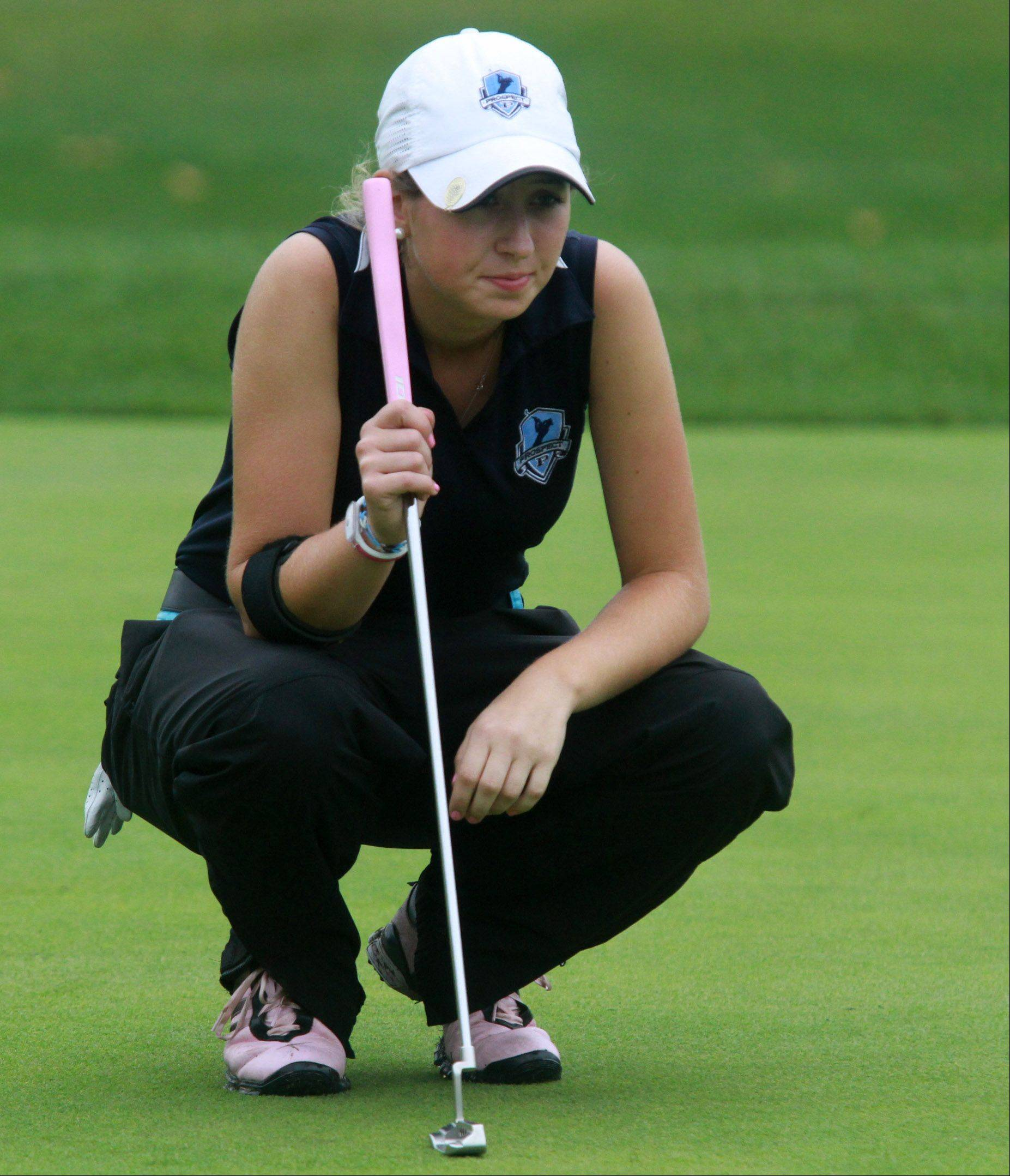 Prospect's Kiley Walsh lines up a putt on No. 9 at Fox Run Golf Course in the Mid-Suburban League championships on Tuesday.